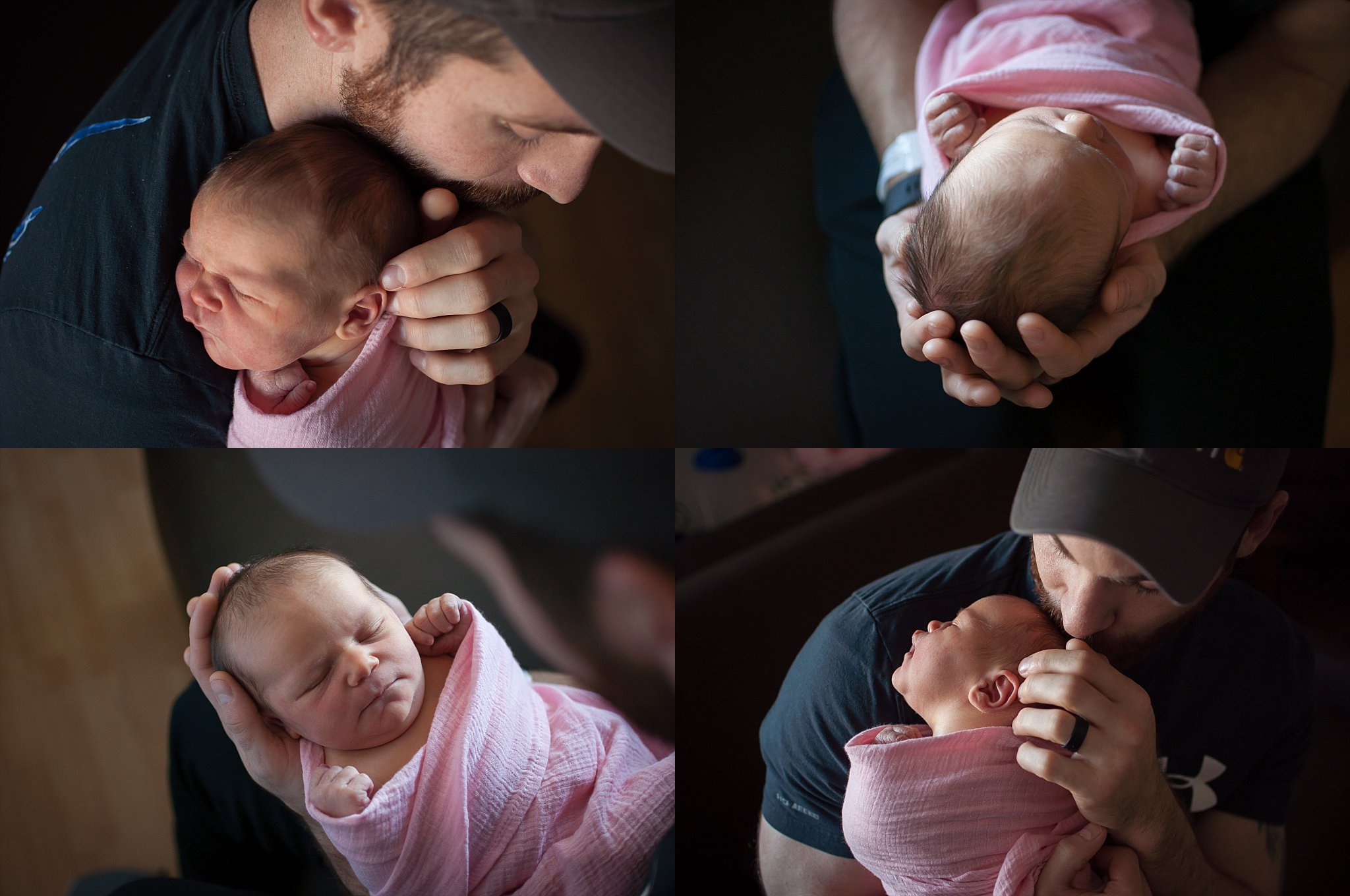 New dad holds his baby girl at Pekin Memorial Hospital for a Fresh 48 hospital lifestyle session.