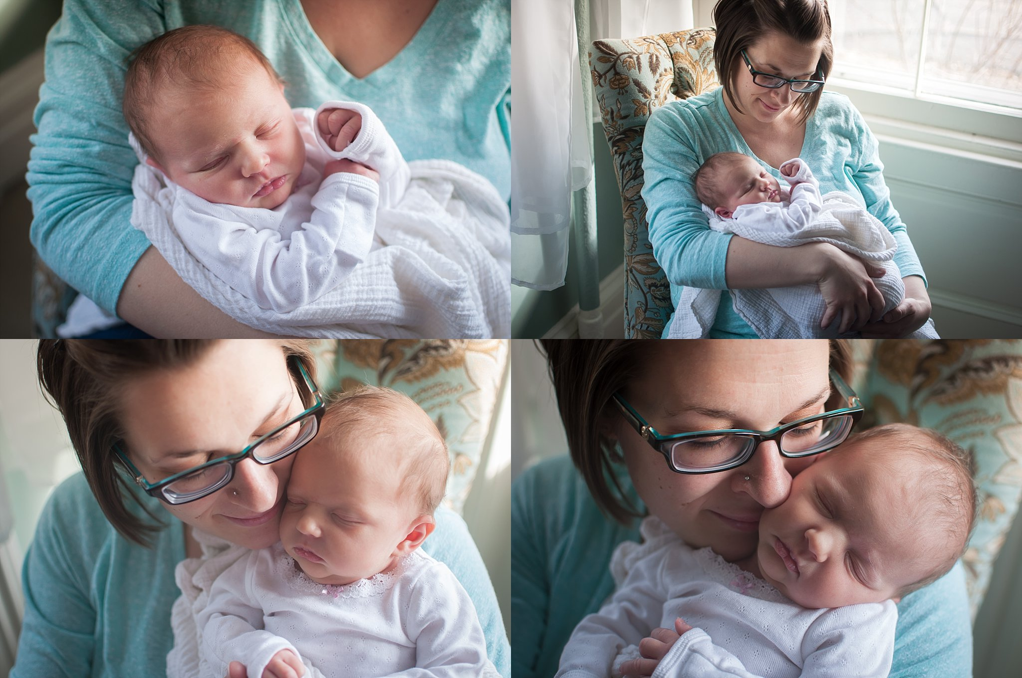 Peoria mother holds newborn baby girl during newborn photography session at the Mansion on Walnut in Pekin, IL.
