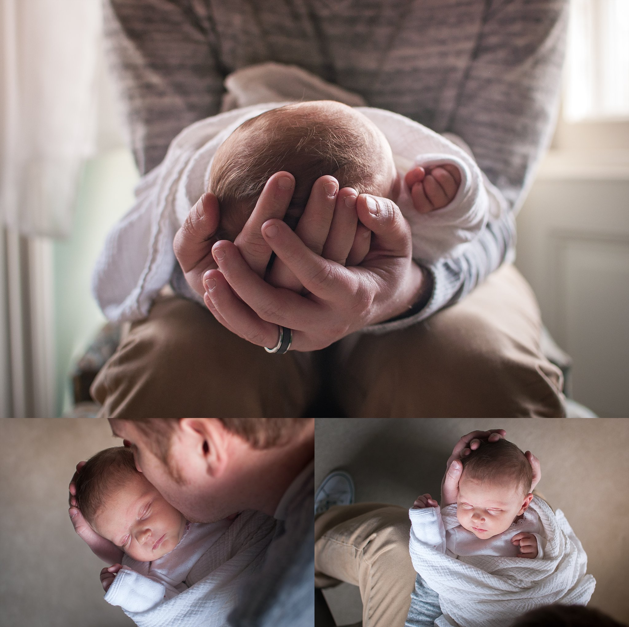 Peoria dad holds newborn baby girl during photography session at The Mansion on Walnut in Pekin, IL.