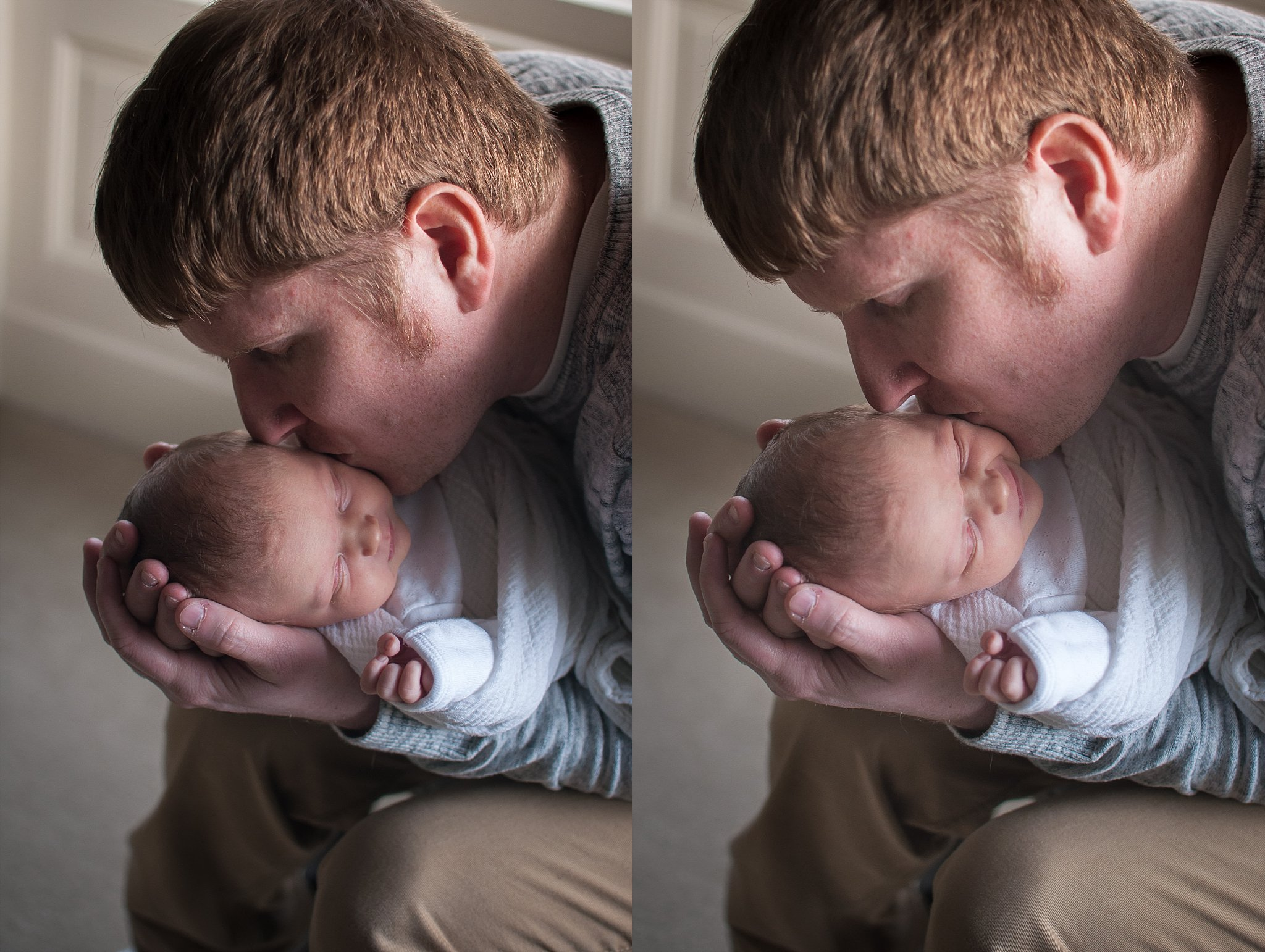 Dad kisses newborn baby on the cheek.