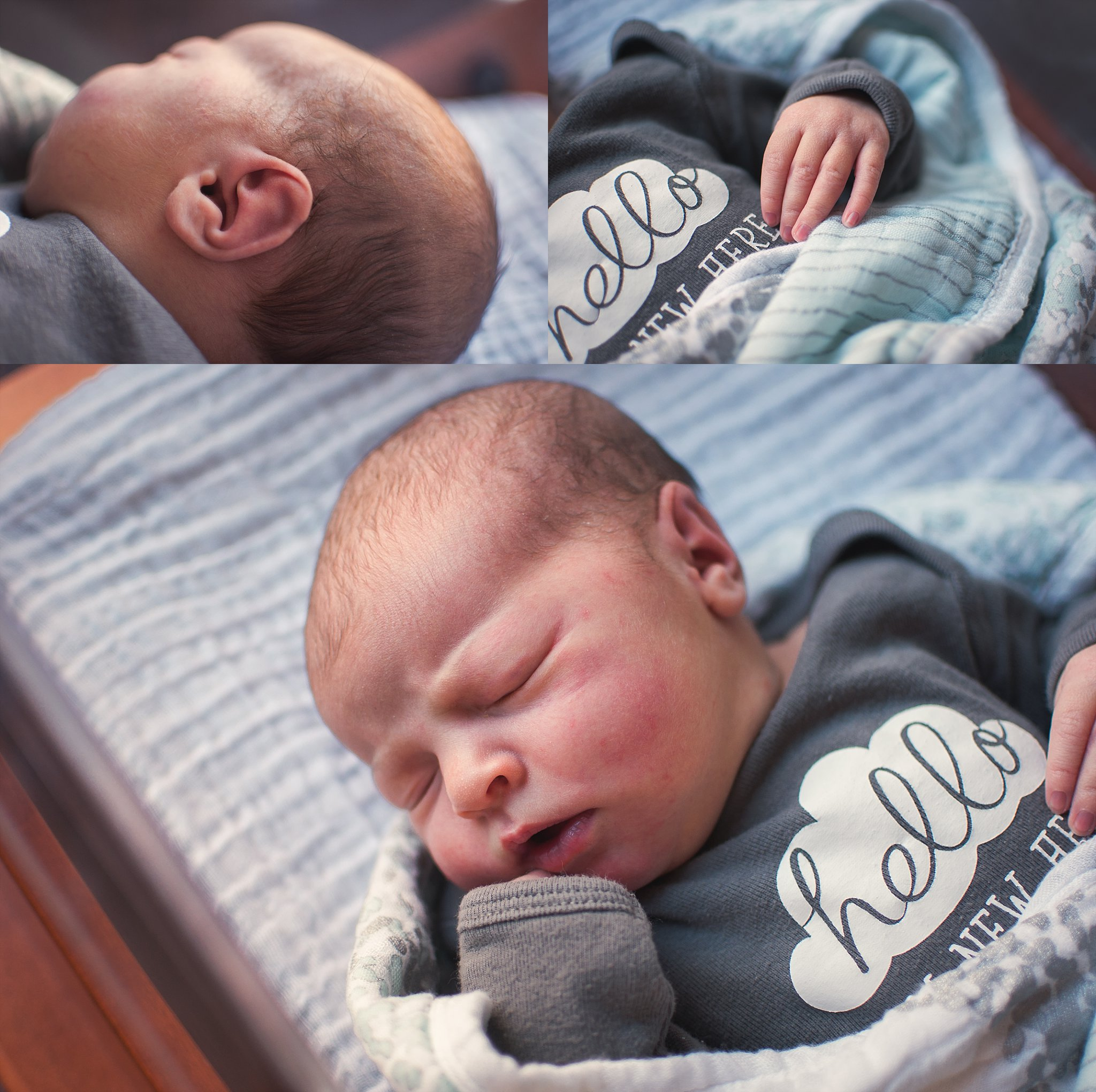 Newborn baby girl sleeps in bassinett at OSF St Francis Peoria.