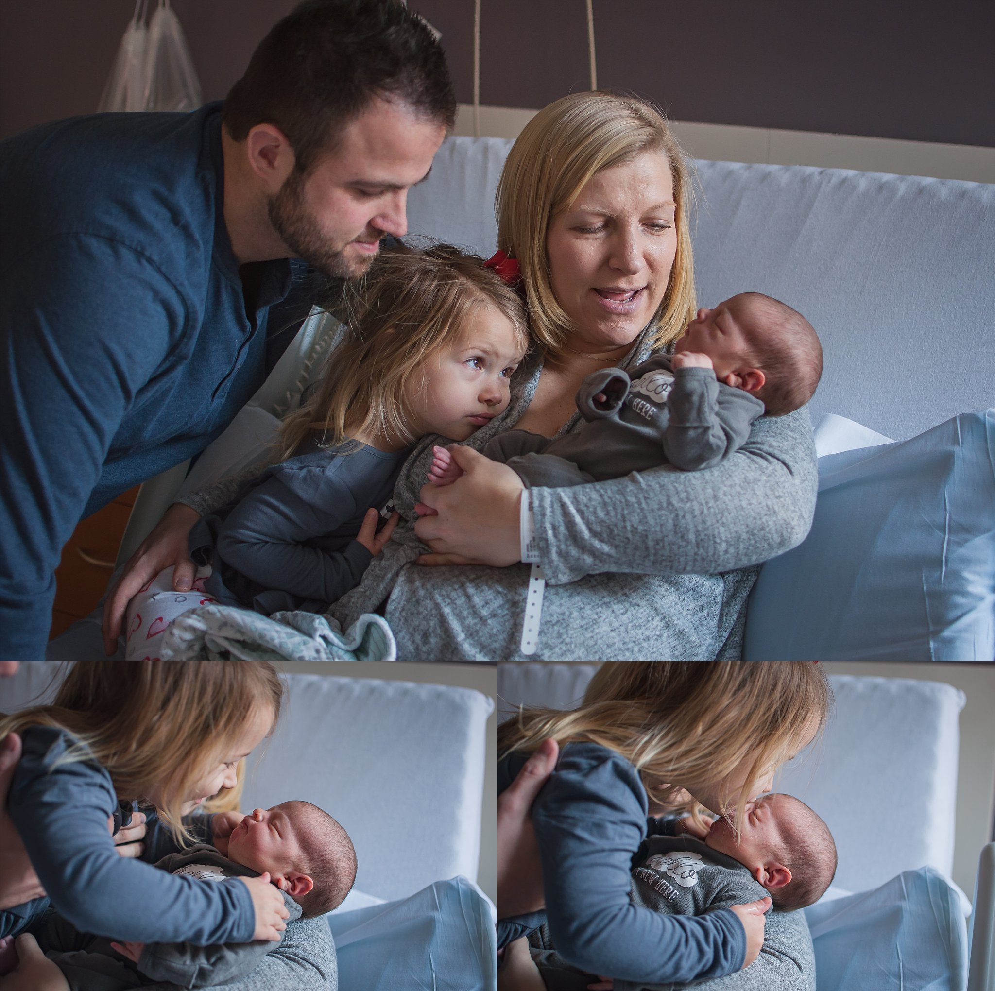 Family sits together at hospital for fresh 48 session. Bit sister kisses little sister on the nose.