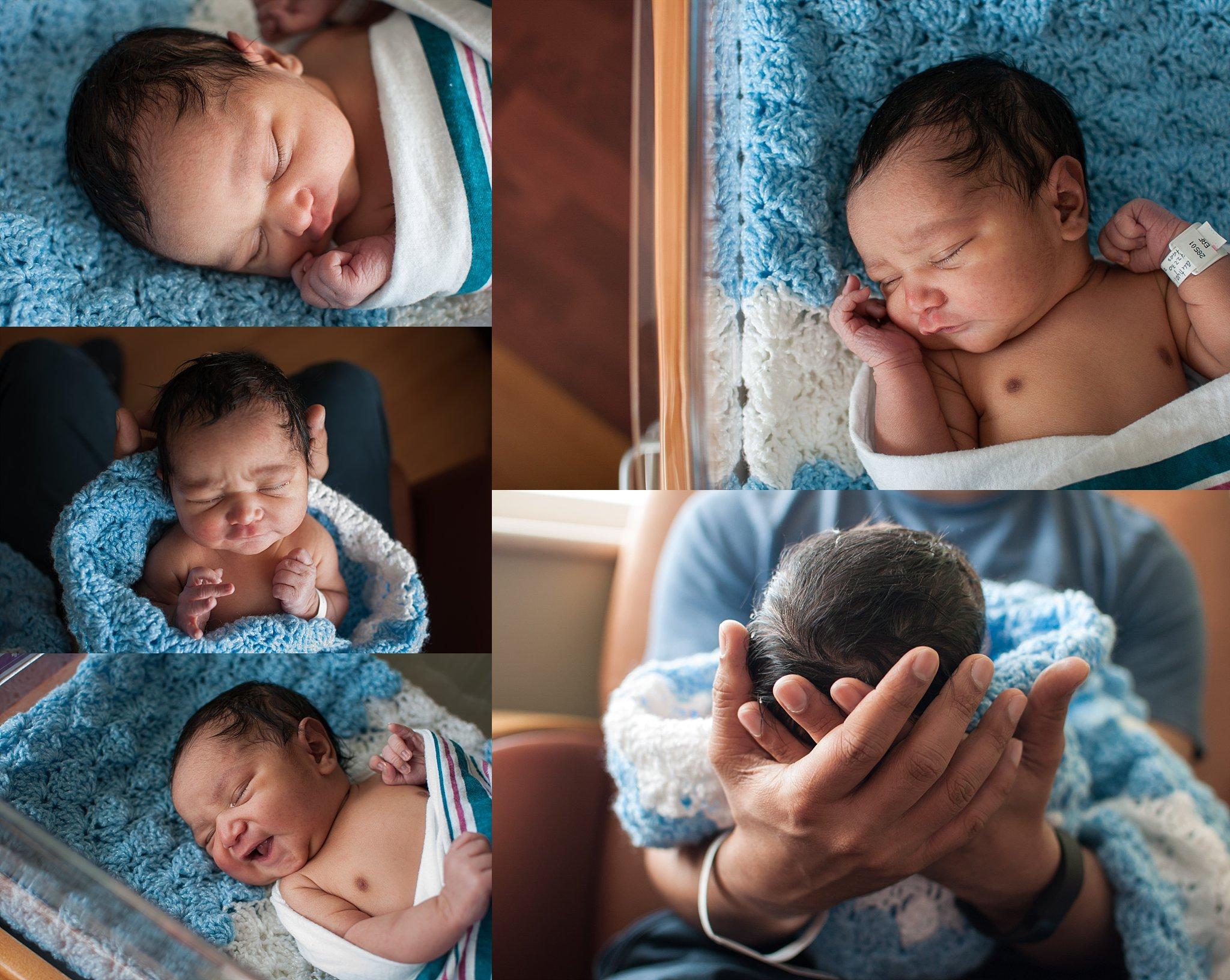 Newborn baby boy is cradled in baby bassinett at Advocate Bromenn in Bloomington, IL.