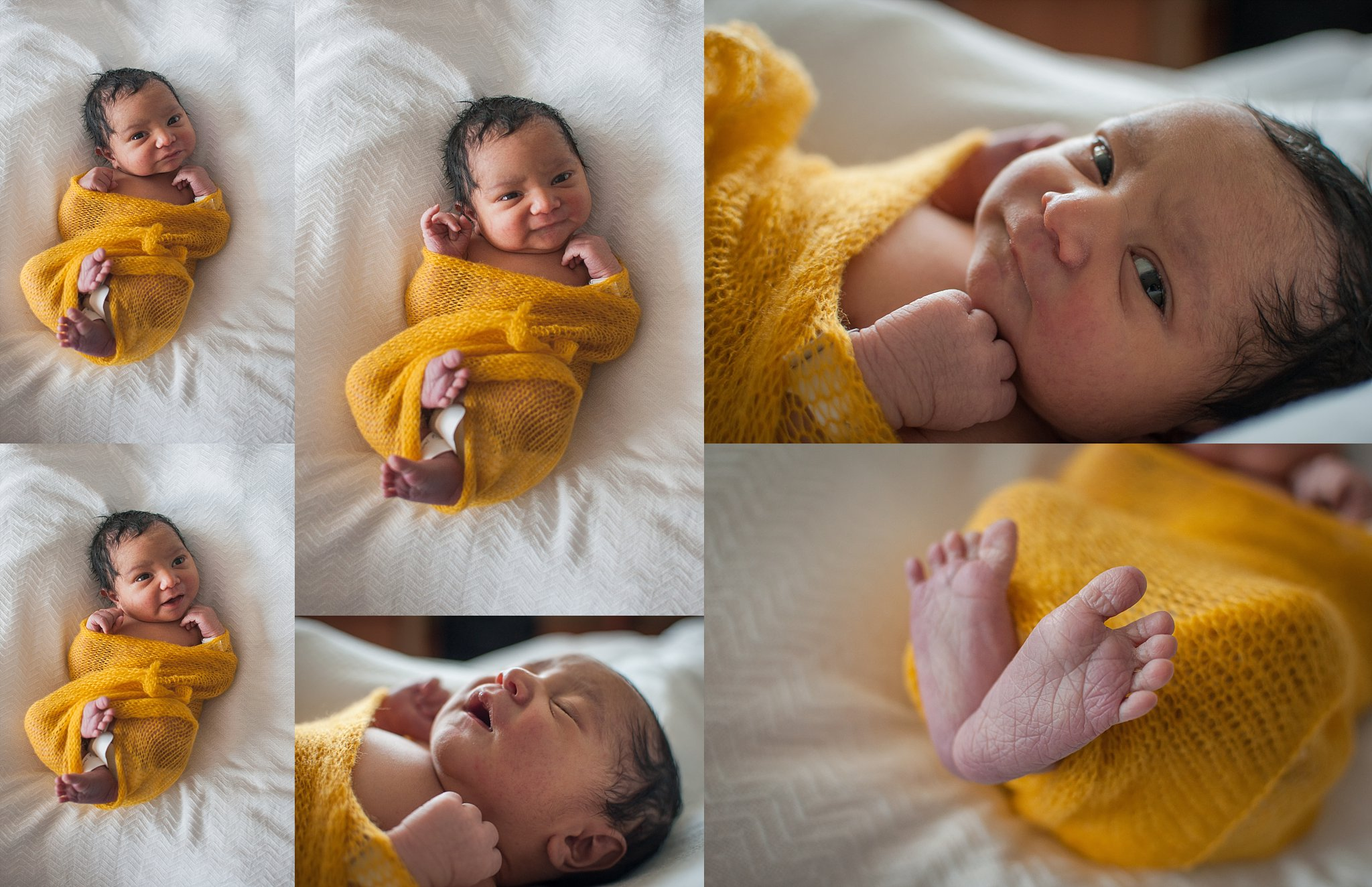 Newborn baby boy rests on blanket during Fresh 48-hospital lifestyle session by Peoria photographer Brittney Hogue.