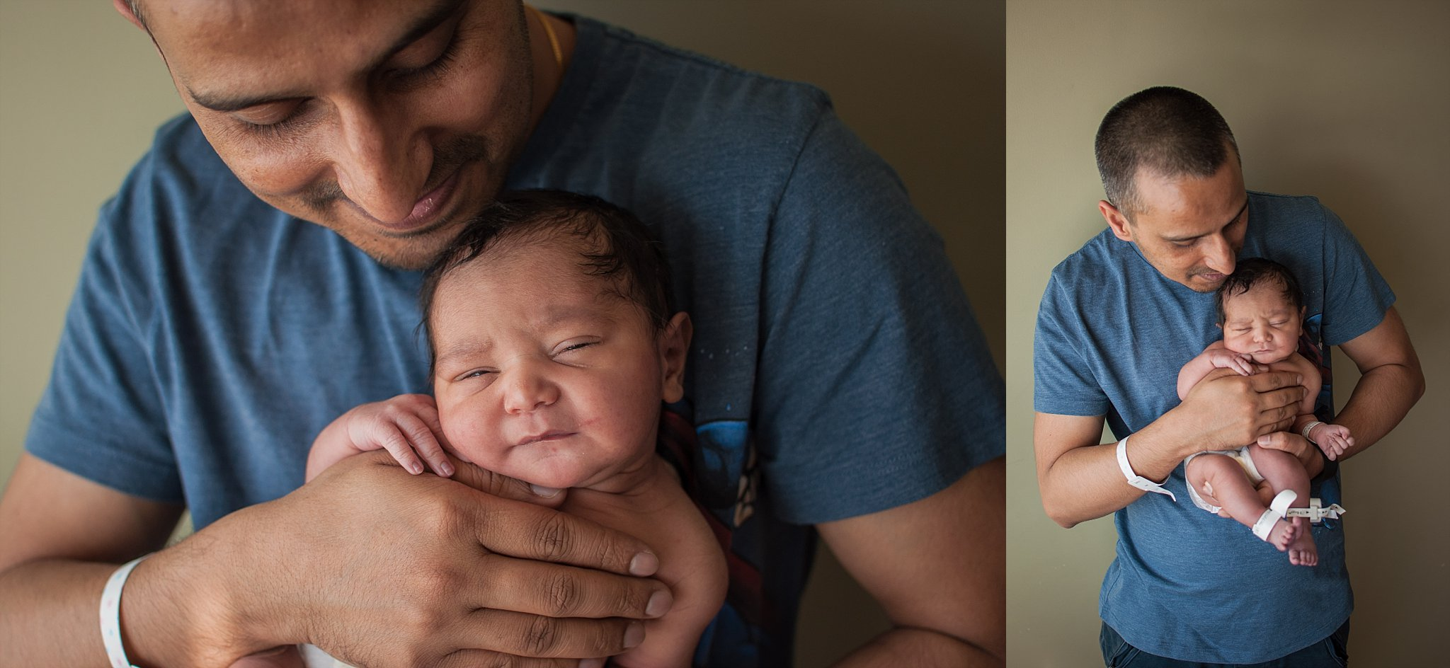 New father holds baby son for fresh 48 newborn photograph.