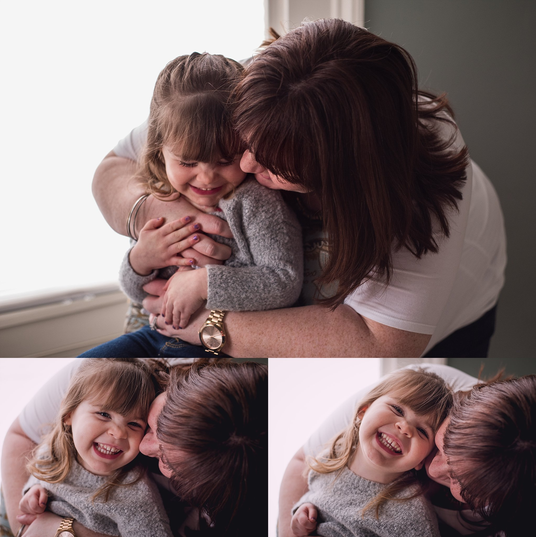 Child laughs with mom during lifestyle session with family photographer Brittney Hogue.
