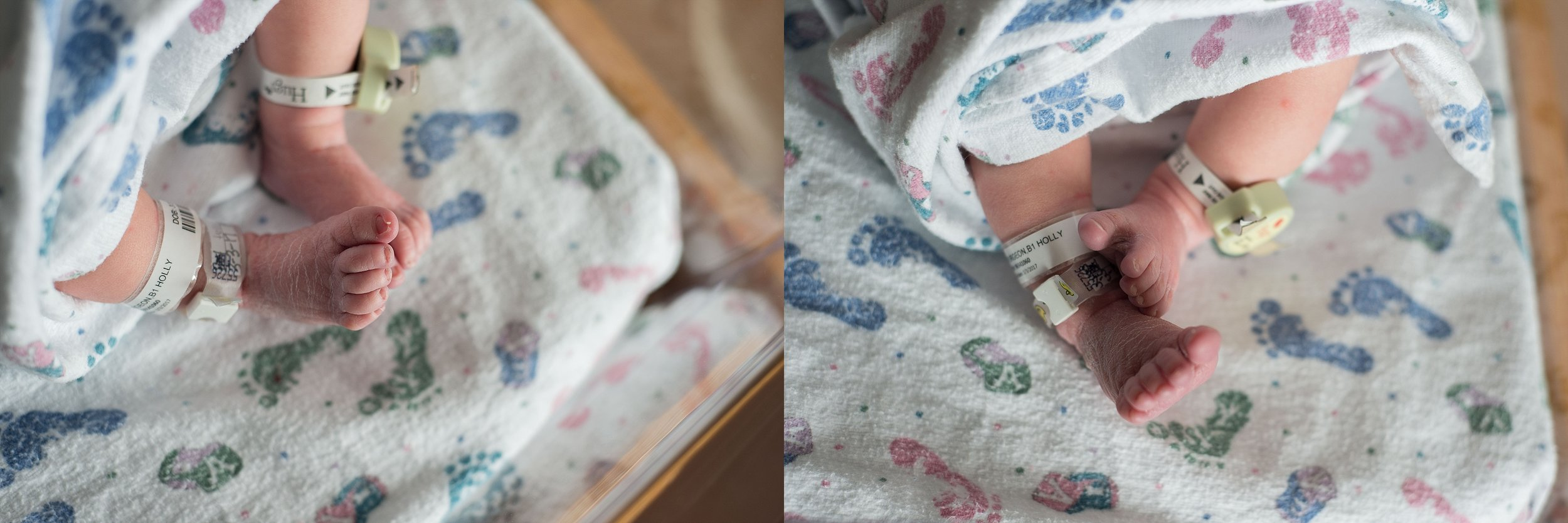 Brittney Hogue focuses on wrinkly baby feet during newborn photography session.