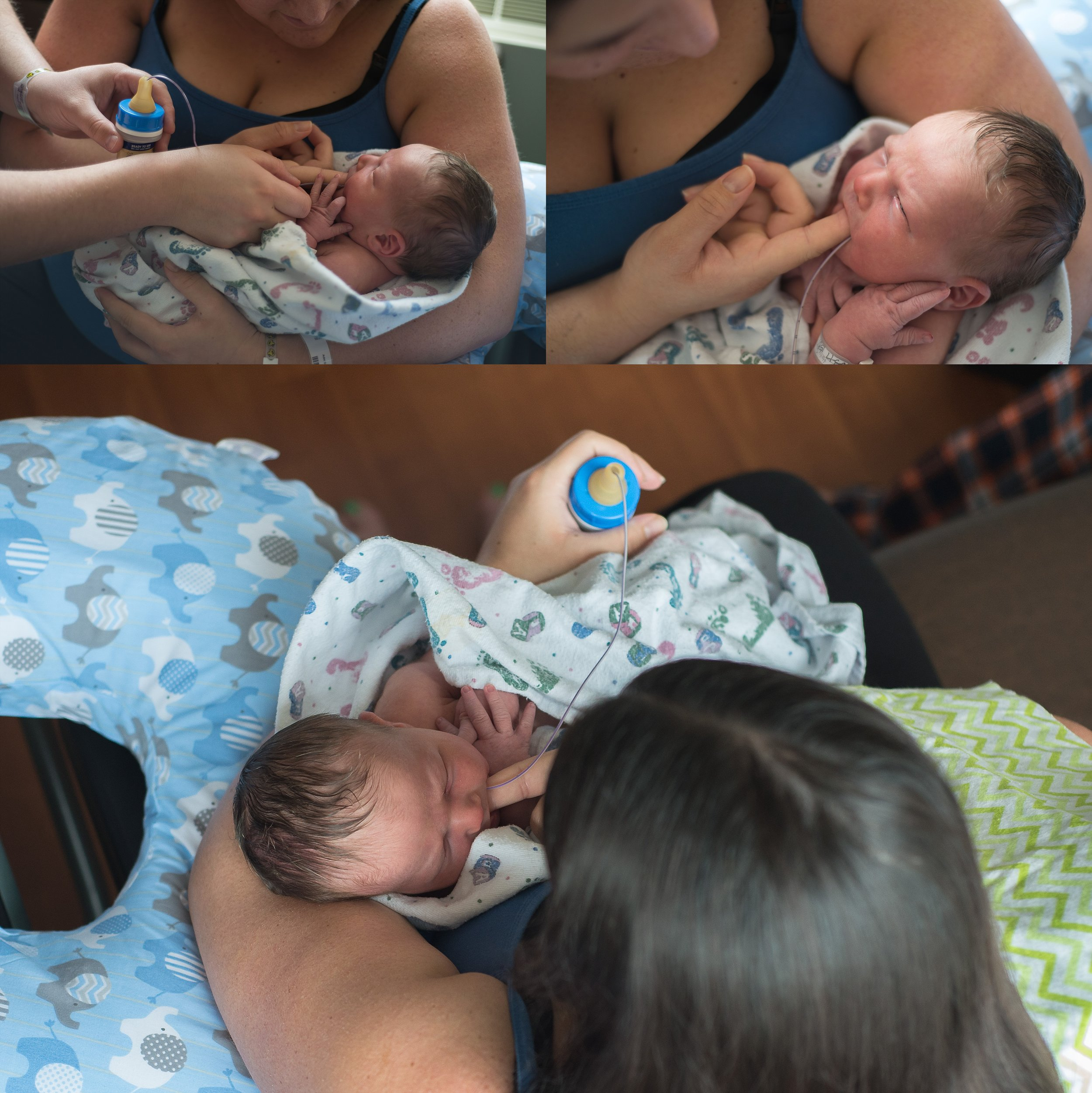 Mom and dad finger feed baby to encourage great latch habits in a breastfeeding baby.