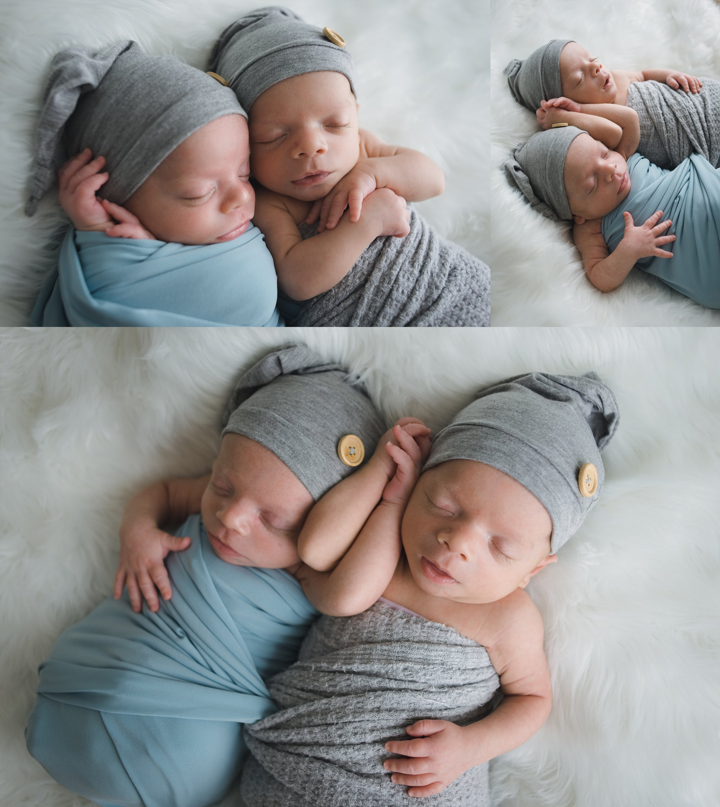 Twin boys pose together for natural newborn session in Peoria, IL.