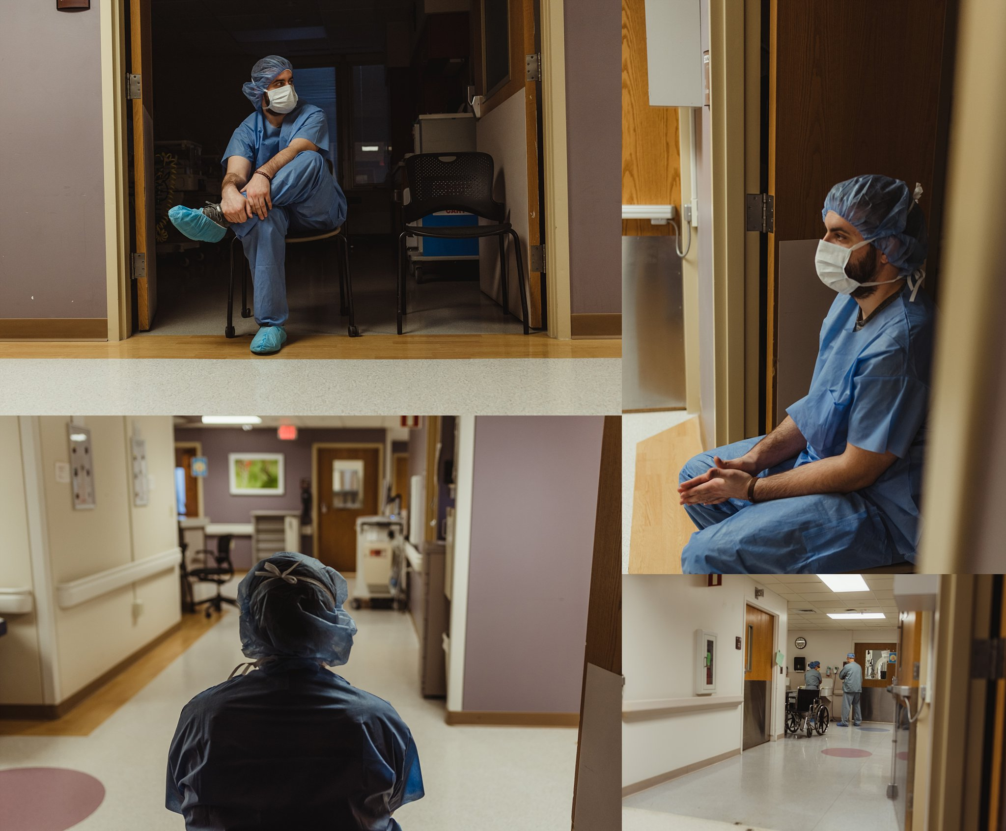 Dad waits outside OR as mom prepares for birth.