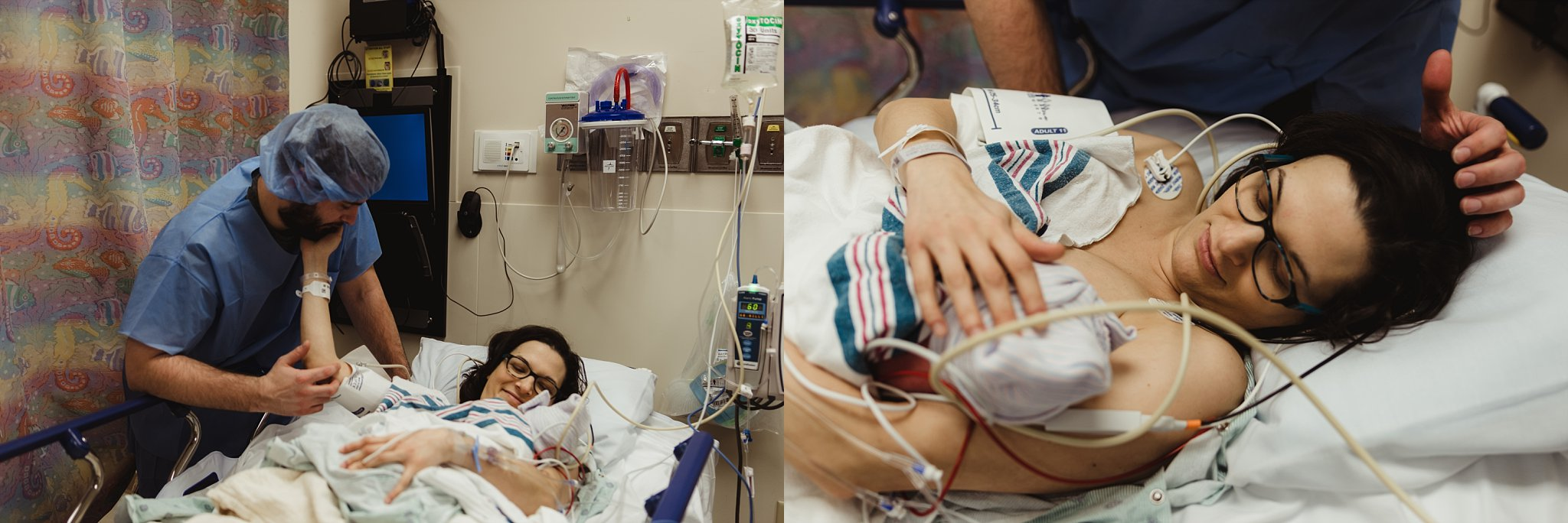 Dad caresses mom in recovery with their preemie.