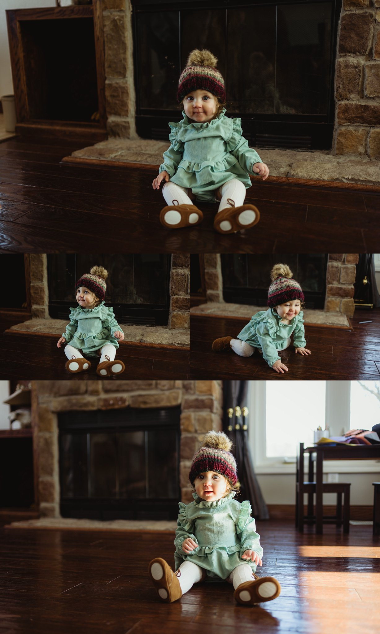 Baby sits in living room during family lifestyle/documentary photography session.