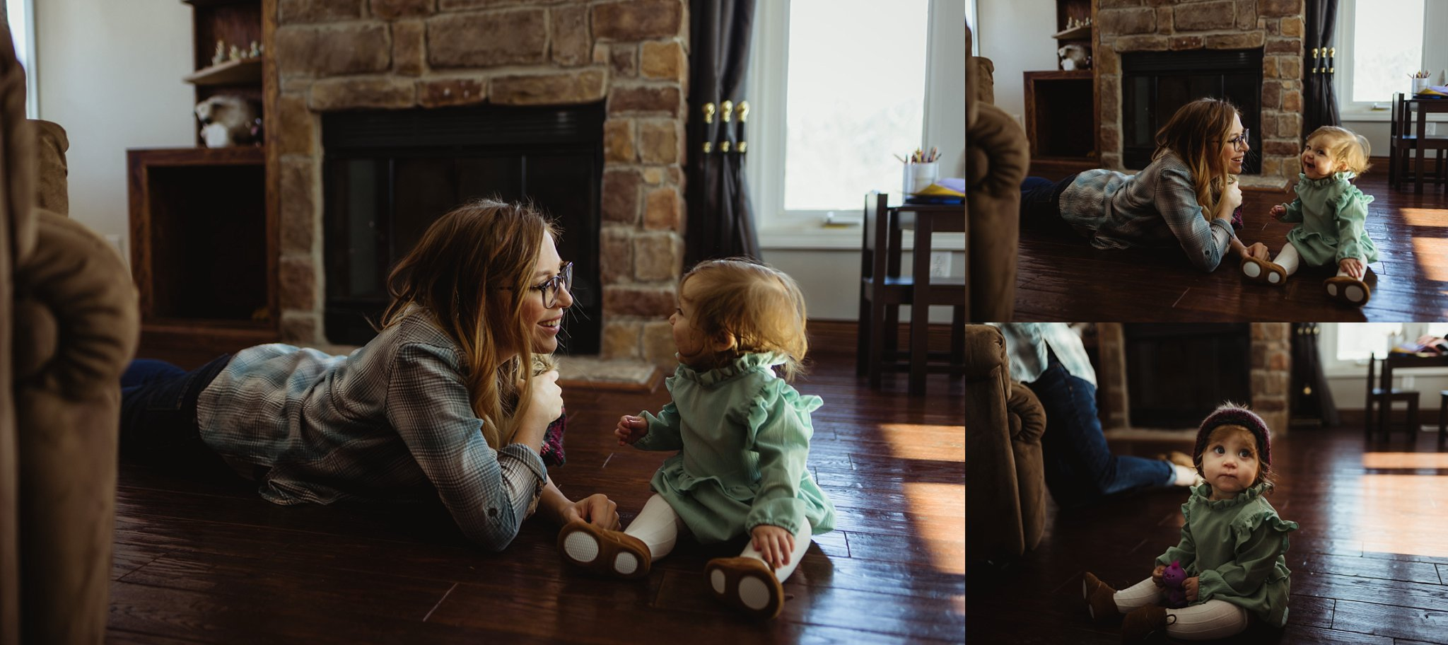 Mom sits with baby during family documentary session.
