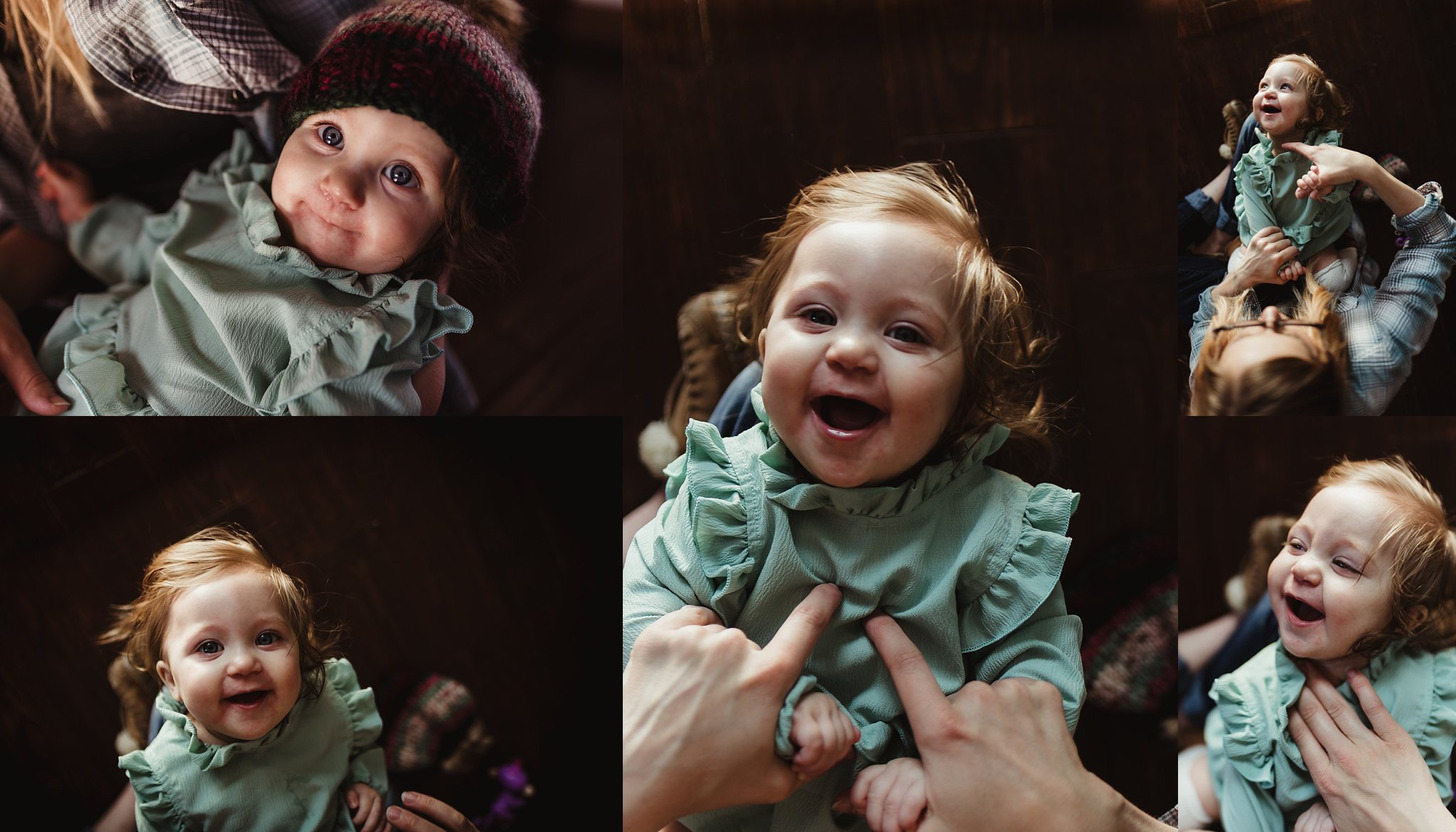 Baby laughs in mom's arms during documentary photography session.