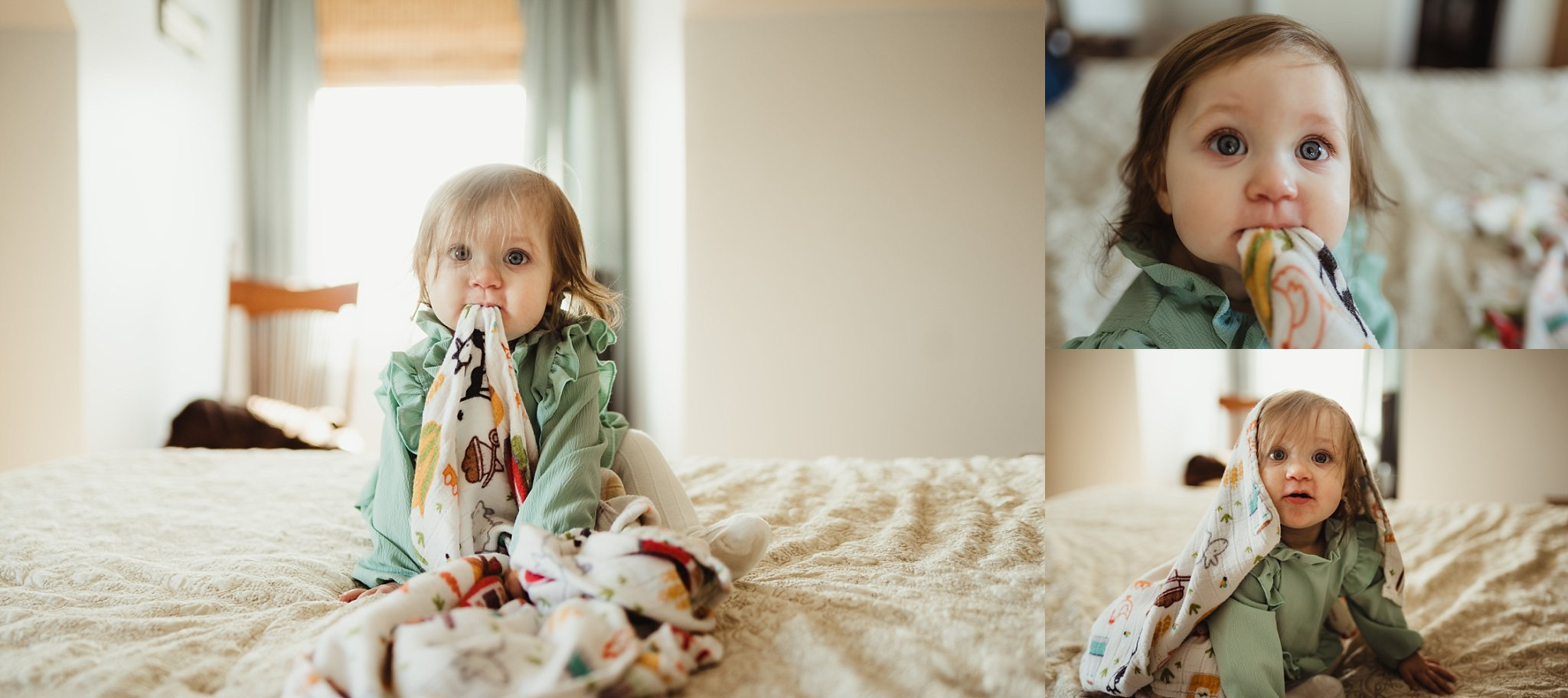 Baby sits with tula blanket at family photo session.