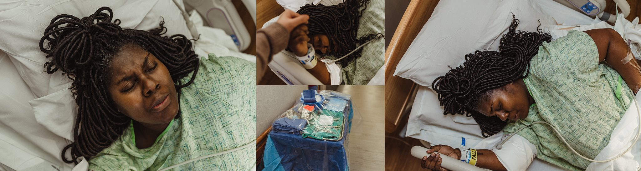 Mother labors through transition, about to welcome her newborn baby boy into the world in Peoria IL.