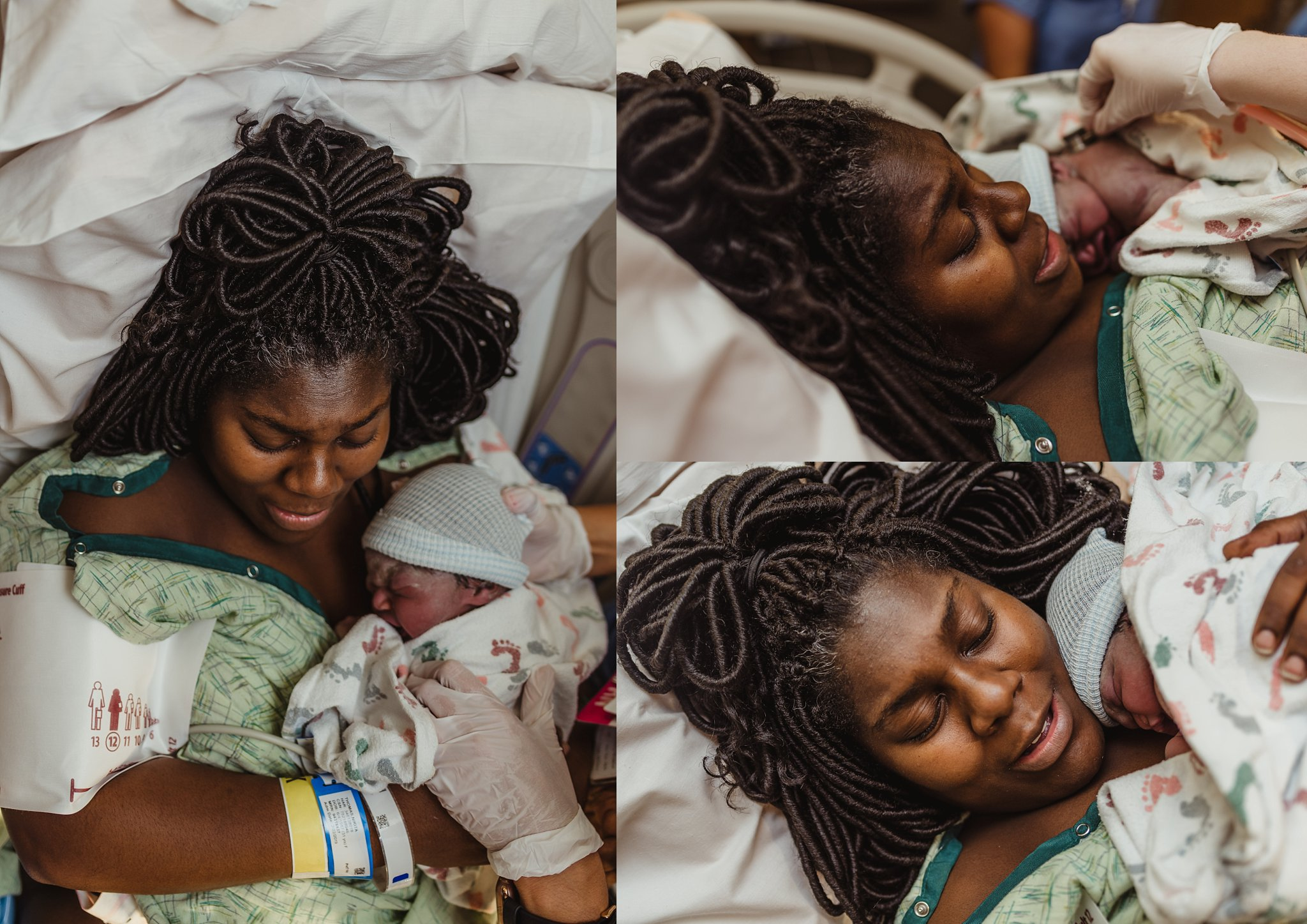Mother receives baby boy covered in vernix at moment of birth.