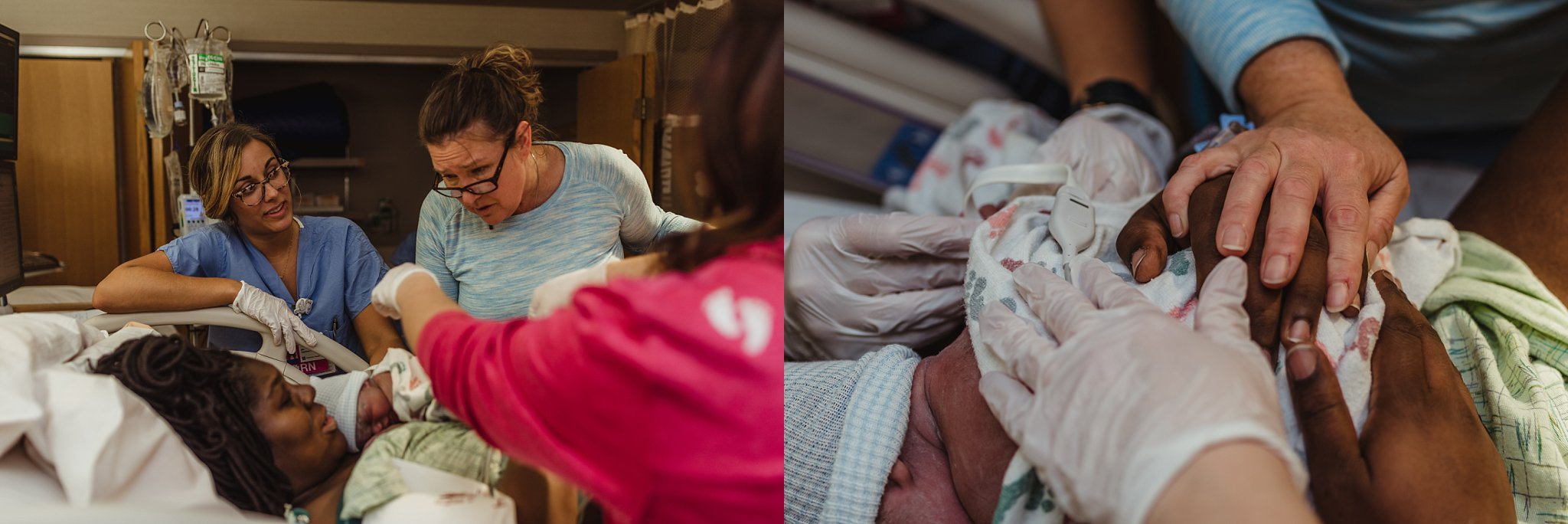 Dr Bochantin congratulates mother on delivery of her baby boy.