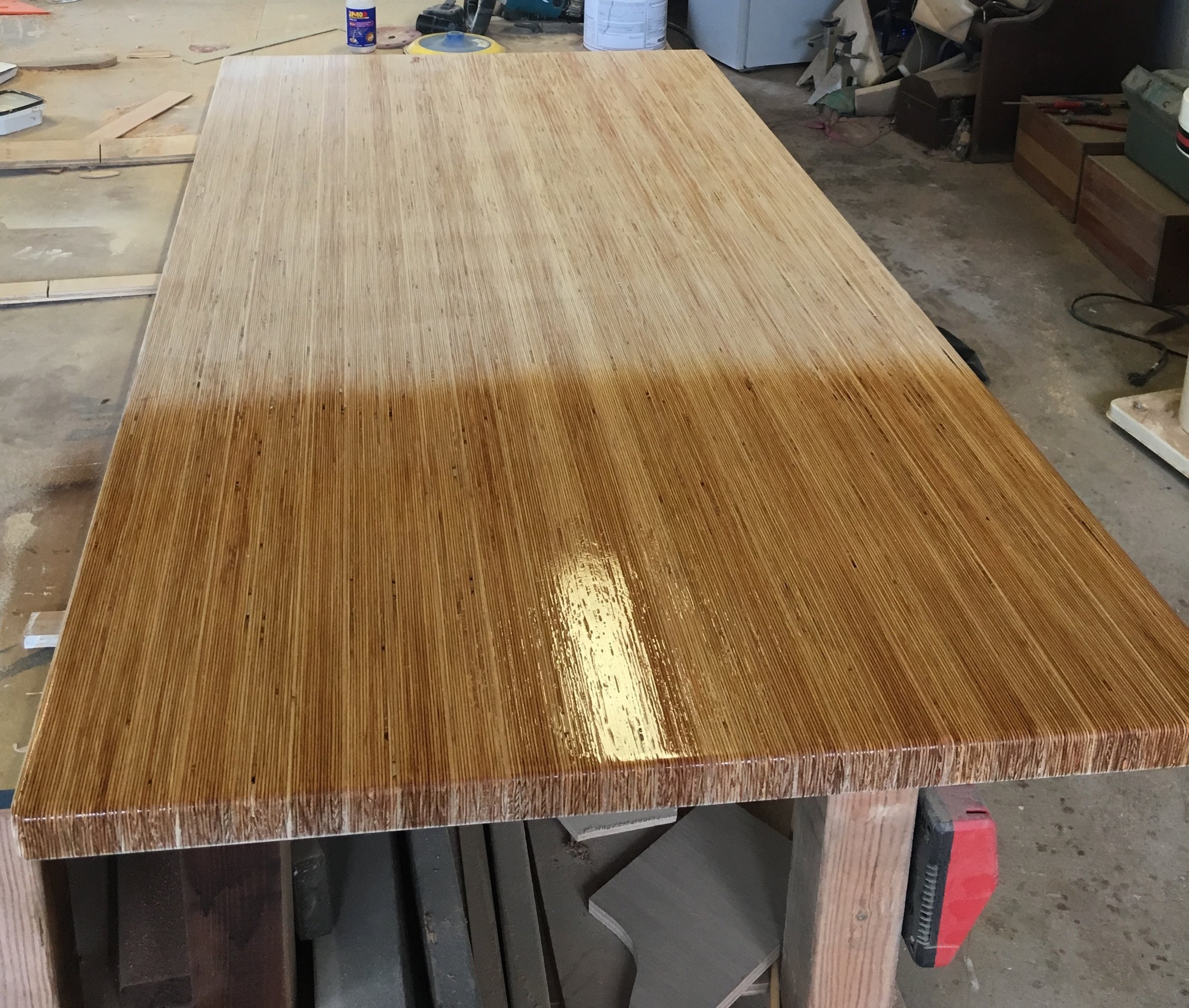 first coat of lacquer on plywood