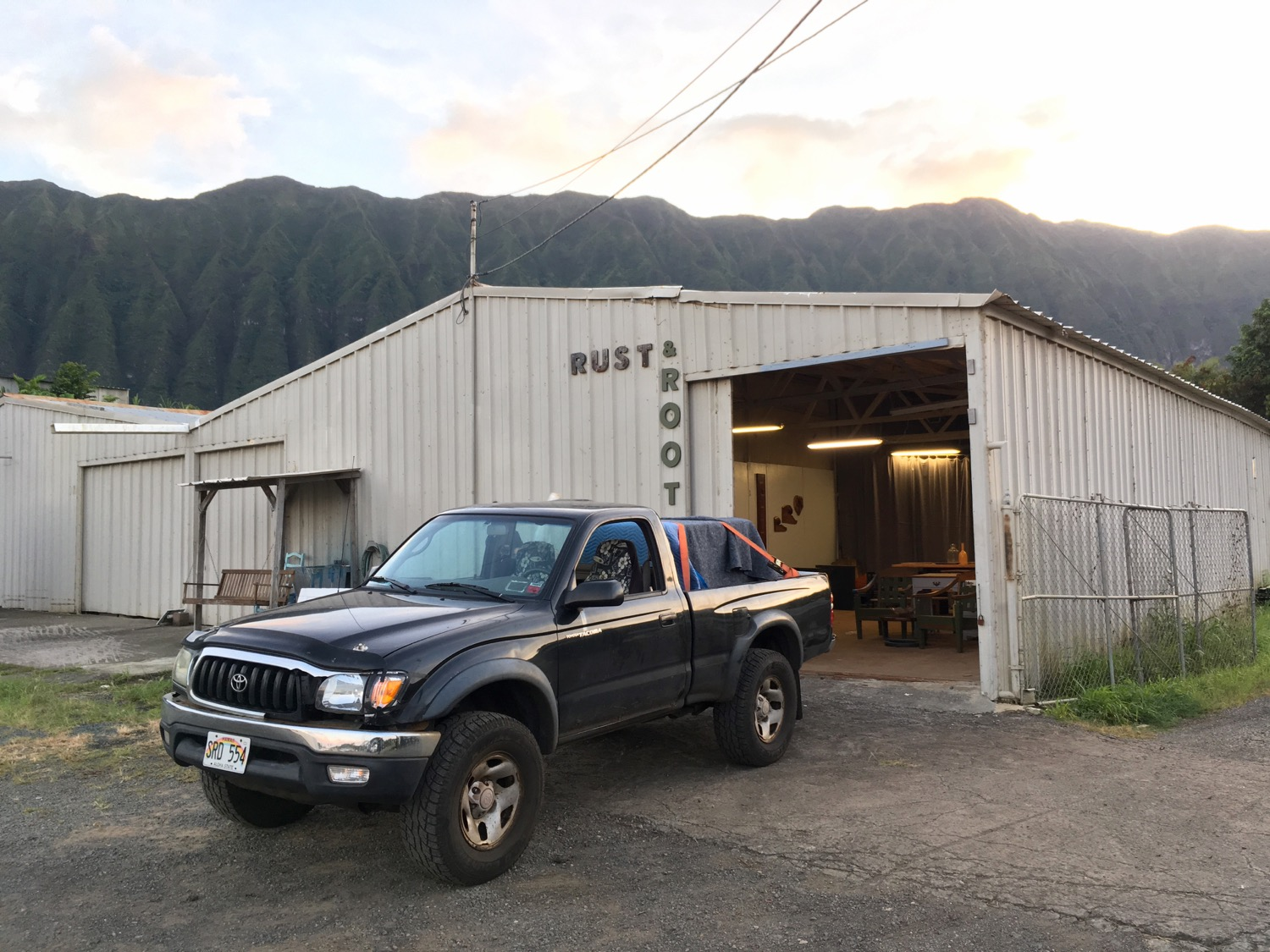 Here's our showroom! We were about to go deliver a desk to a family in Kailua, but I paused for a picture because the showroom looked so good in the early evening light.