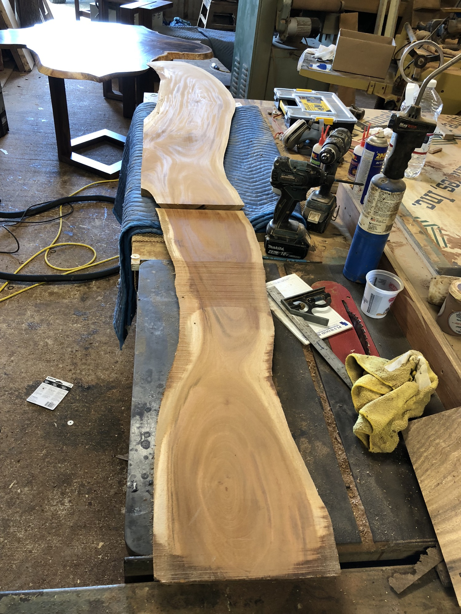 Cuban mahogany slab, cut to separate the top and the leg. This cut was made with a Dewalt track saw, which allows a perfectly straight cut.