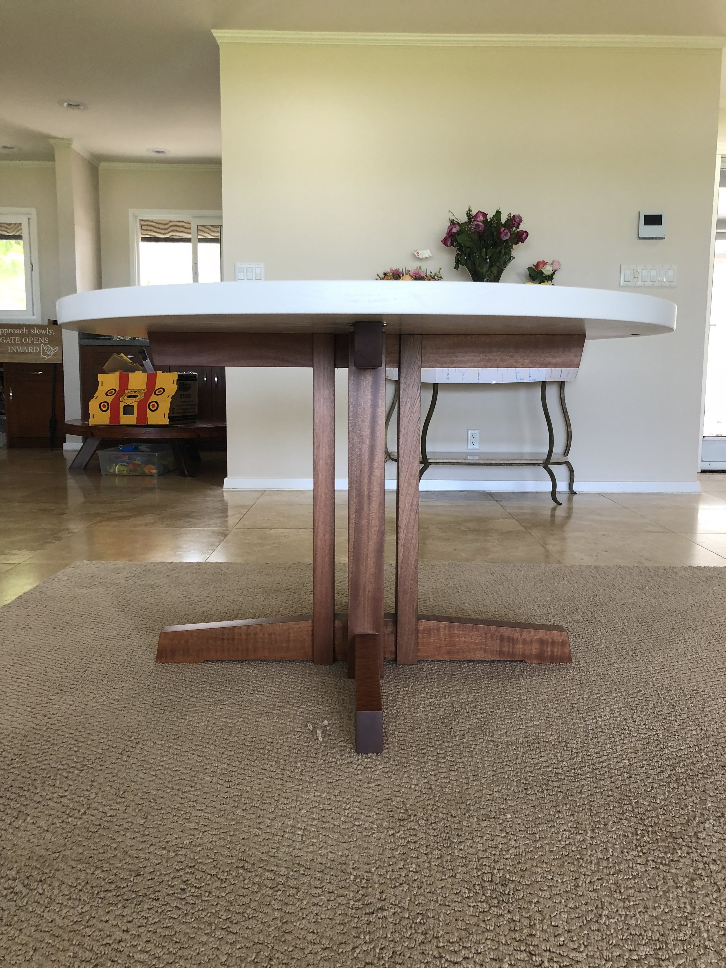 George Nakashima - inspired base. This base is made of pommele, and features traditional joinery. No screws were used!