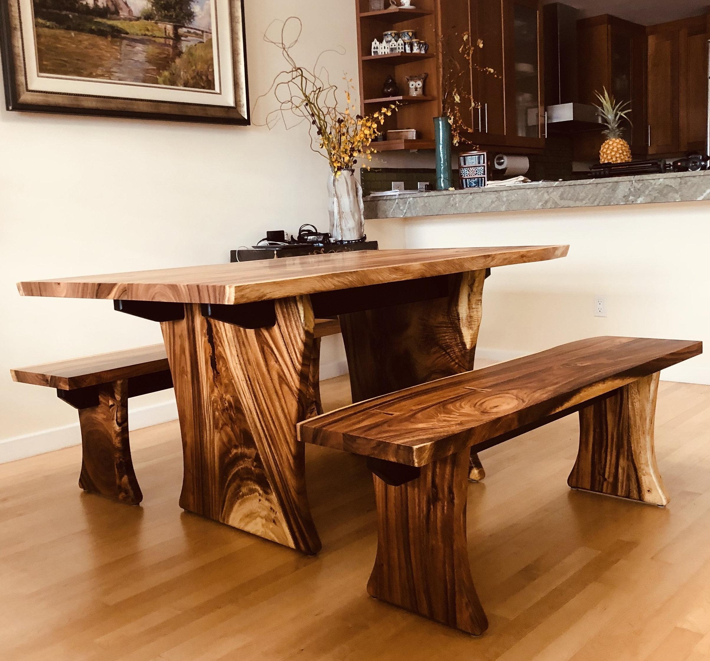 Ebonized oak stretchers for strength and contrast.