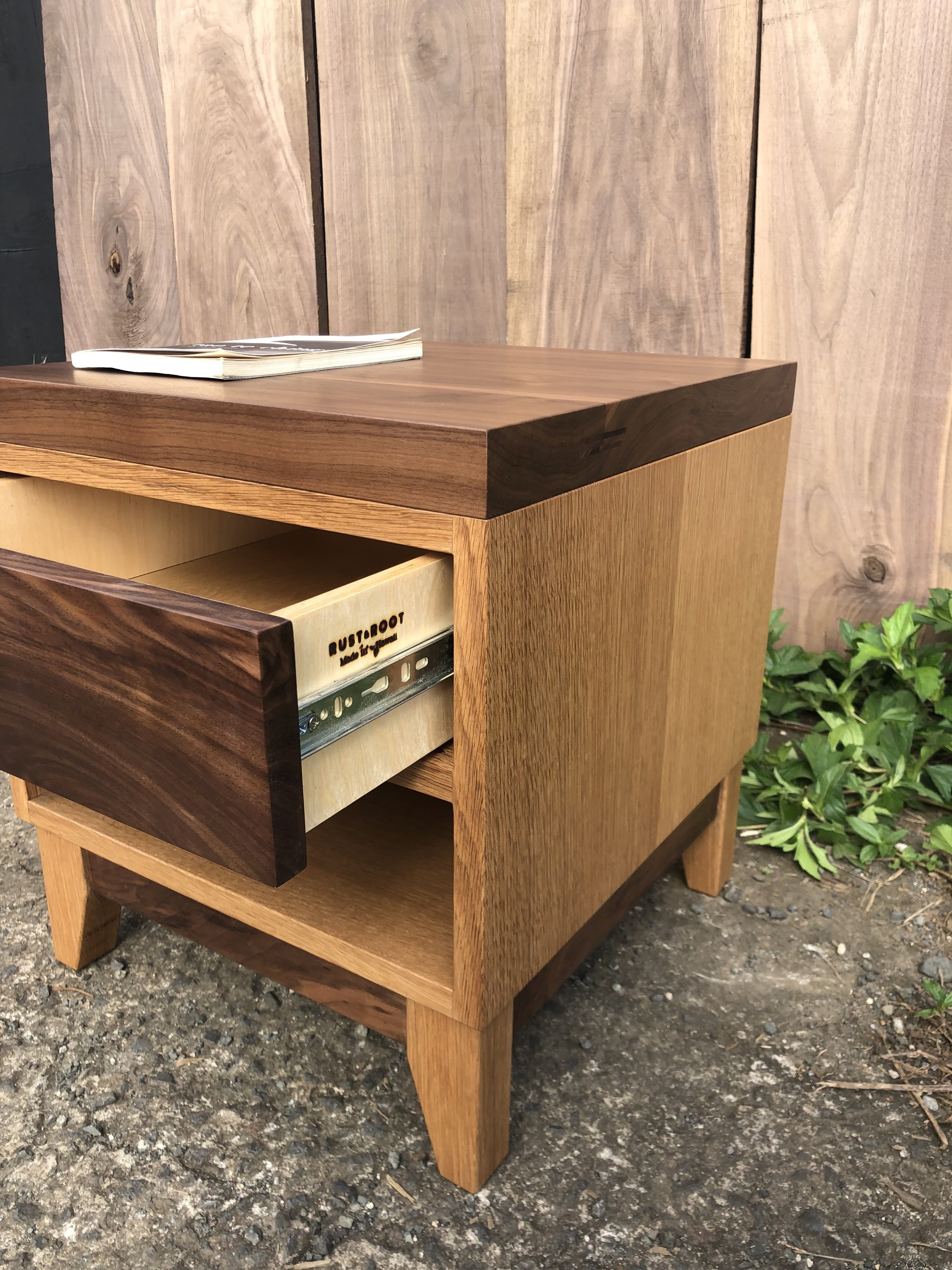 White oak and walnut bedside table.