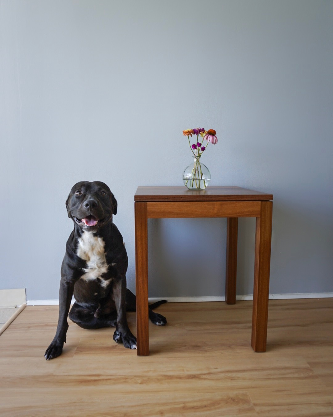 Minimalist teak side table