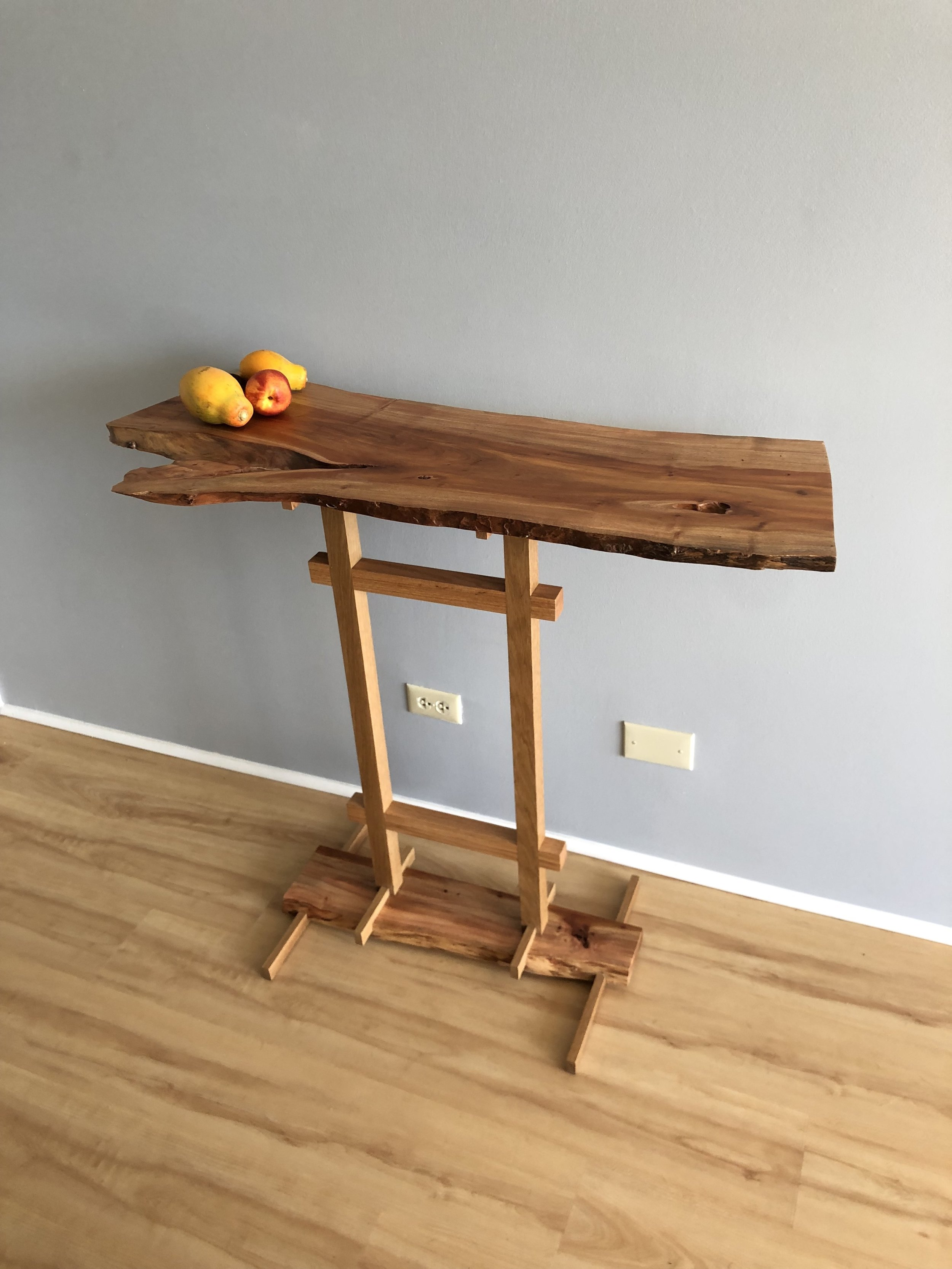 Opiuma mixed with red oak and traditional joinery
