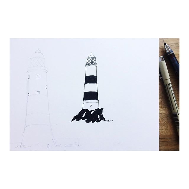 Nautical AF. /// #illustration #nautical #boaty #nauticalillustration #drawingpractice #draweveryday #pendrawing #micronpen #lighthouse