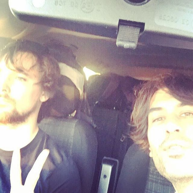 On the road to Fancy Pants France for a little guitar noise and album promo #allourtimes #france #roadtrip