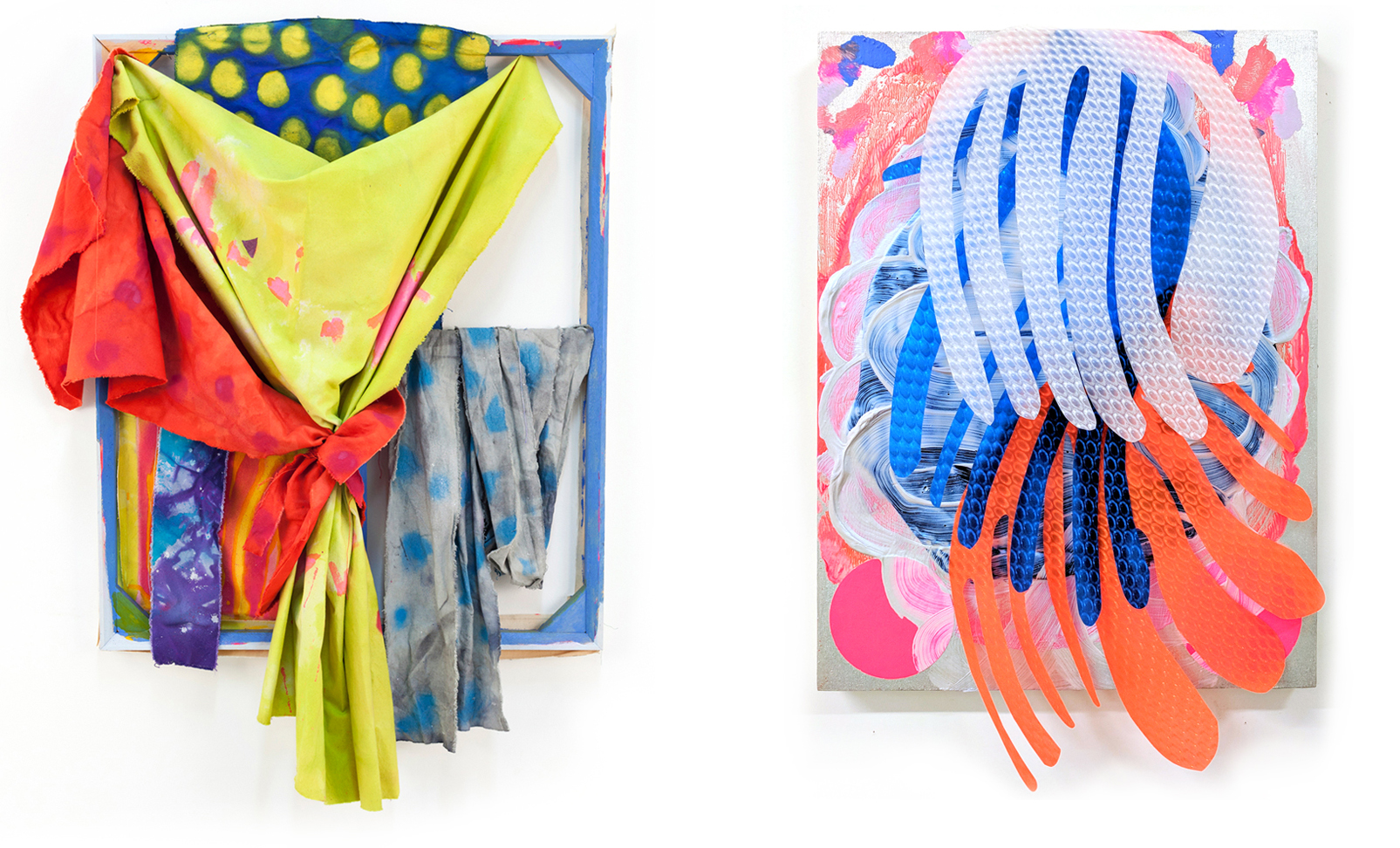 Left: Jamie Powell,  Stand Up Straight Girl , 2015, acrylic and spray paint on dyed cut canvas, 46 x 34 inches, courtesy of the artist. Right: Melissa Staiger,  Brain Power II,  2017, assemblage made of acrylic paint, paper and plastic, 16 x 12 x 3 inches, courtesy of the artist.