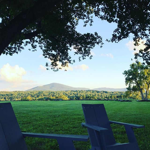 Two chairs for two Dotys! Having fun at Bennington Chamber Music Institute where Karl is coaching for the week. #greenmountains #summerfestivalseason #thedotys