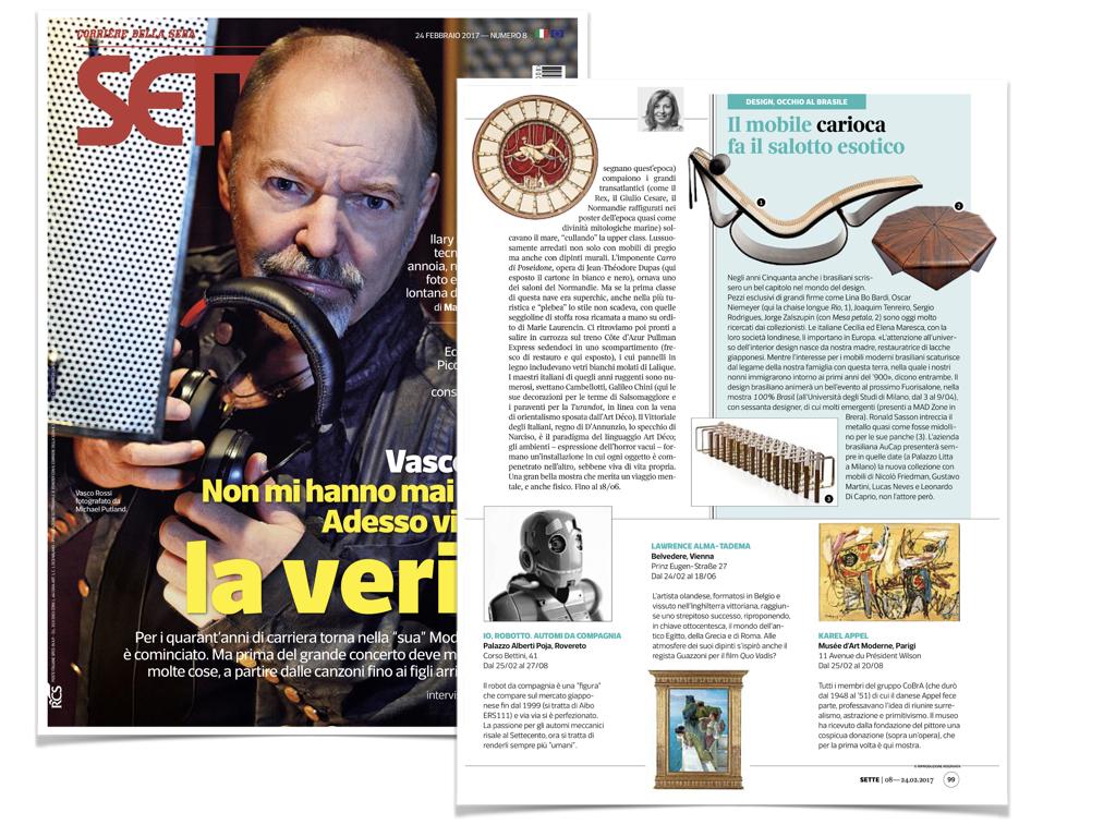 Sette Corriere della Sera Magazine, Italy - February 2017 - News story on Maresca Interiors debut to Salone del Mobile 2017