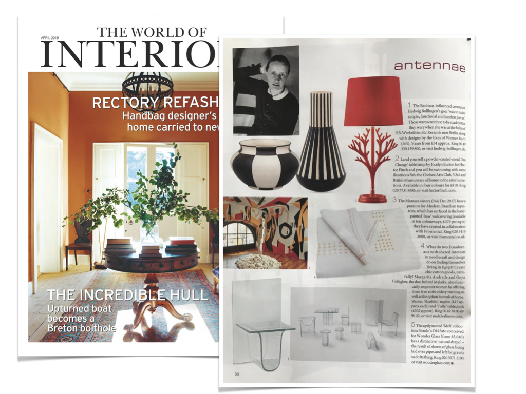 The World of Interiors Magazine, UK - April 2019 - News story on our wallpaper RAW in collaboration with British Atelier Fromental