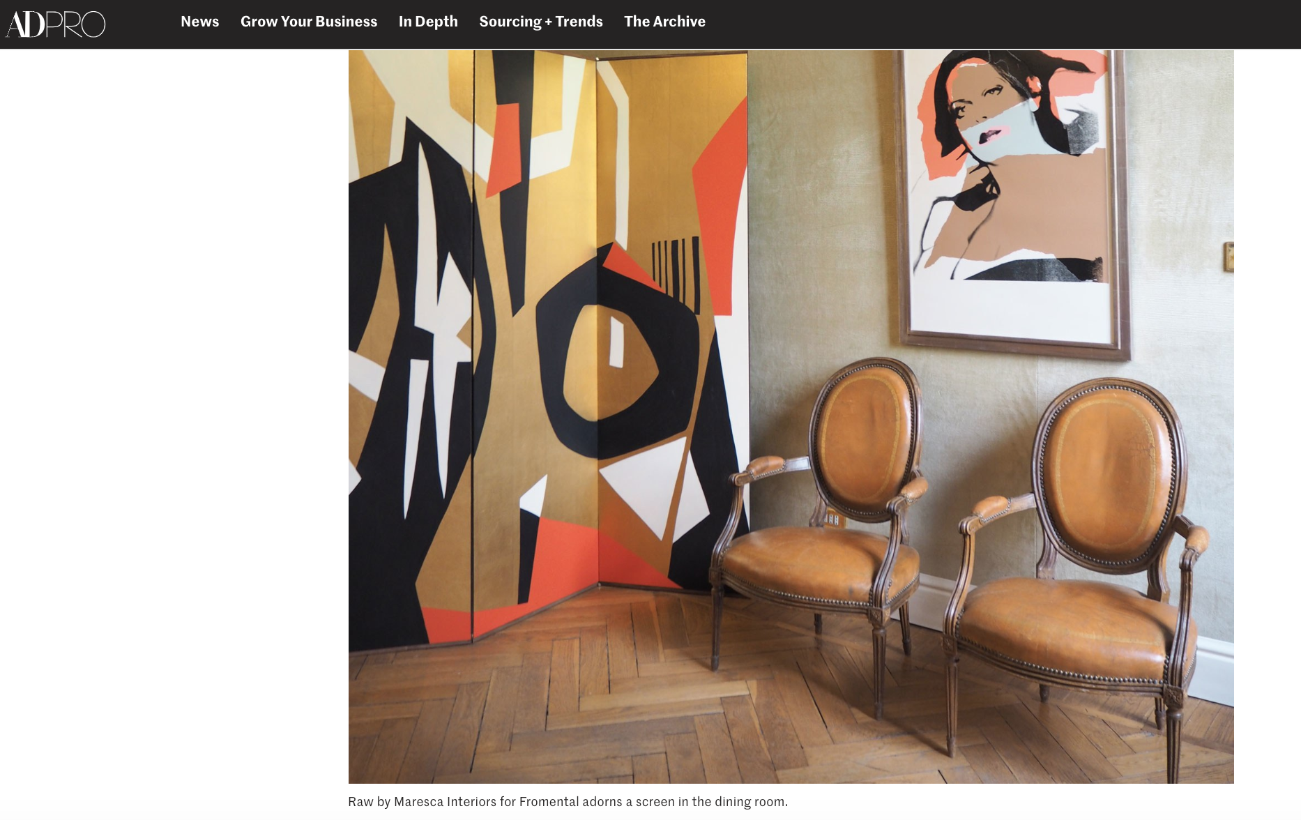 AD - archdigest.com - April 2019 - News story on Eric Egan and Maresca Interiors collaborations with Fromental presented at the American interior designer's new Milan studio apartment