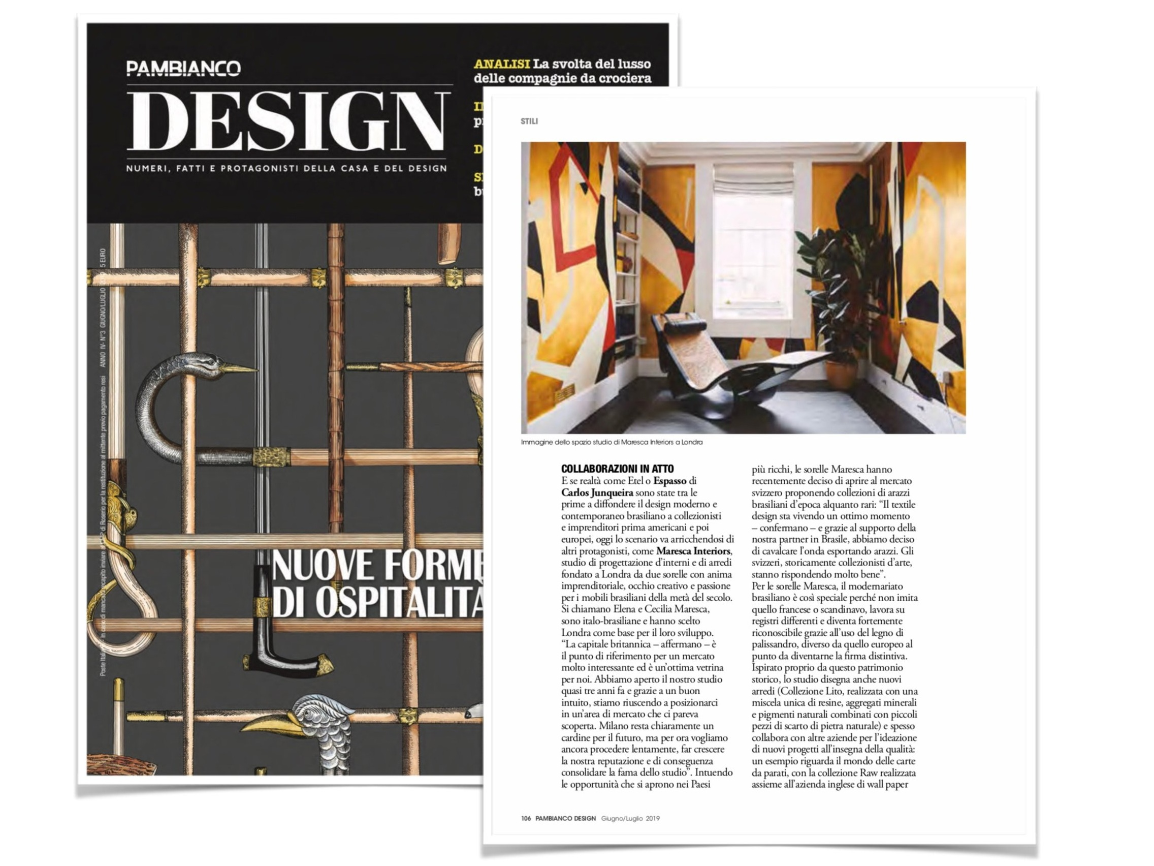 Pambianco Design - June 2019 - Feature on our Studio