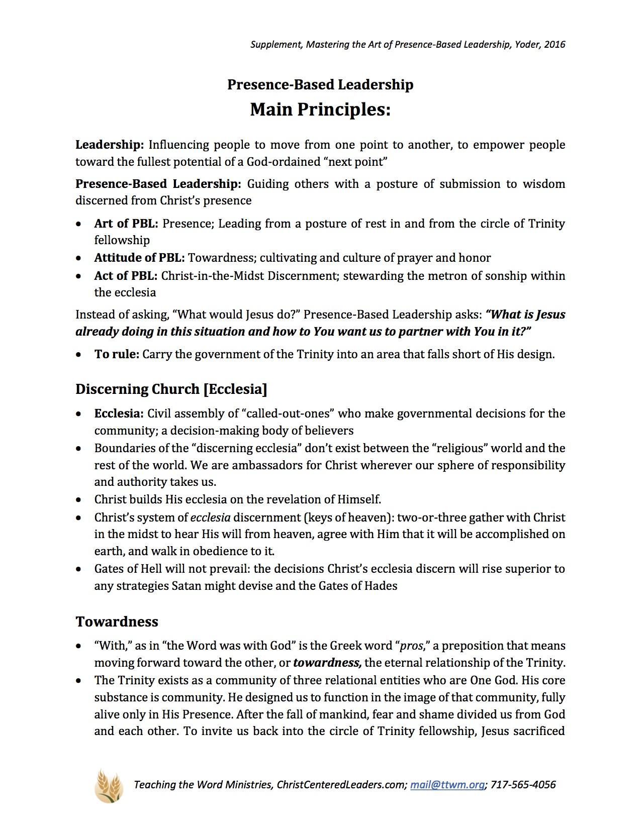 Outline of Main Presence-Based Leadership Principles
