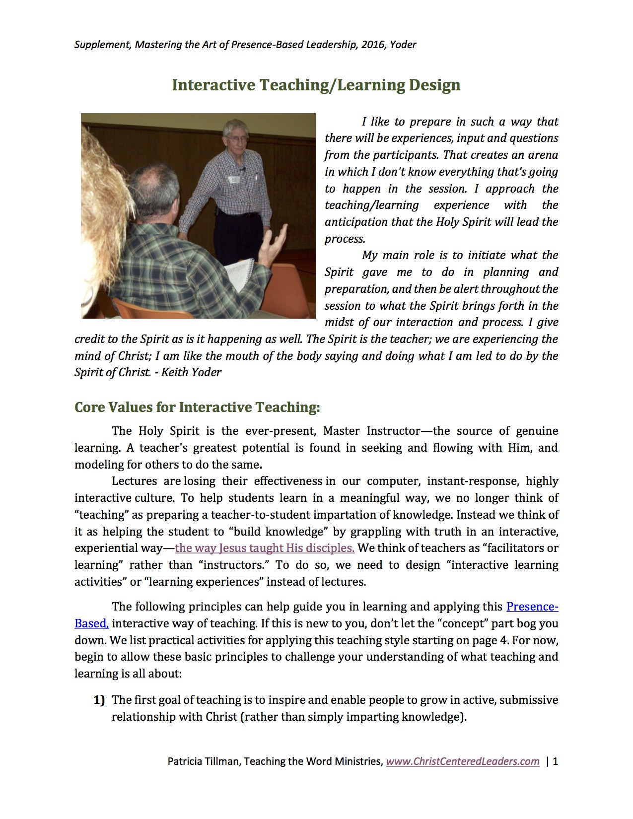 Interactive Teaching/Learning Design