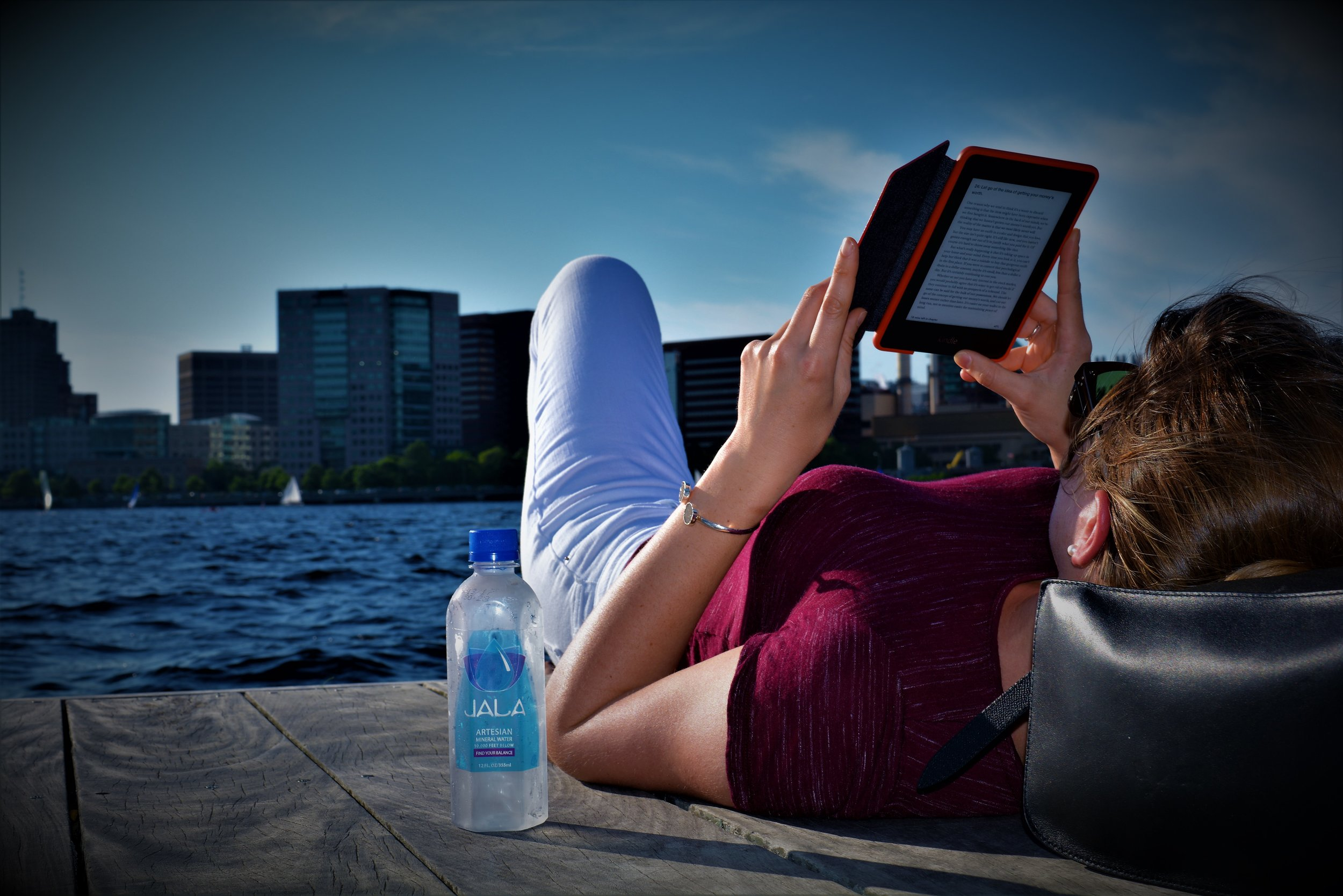 Relaxing on the Charles River in Boston, MA