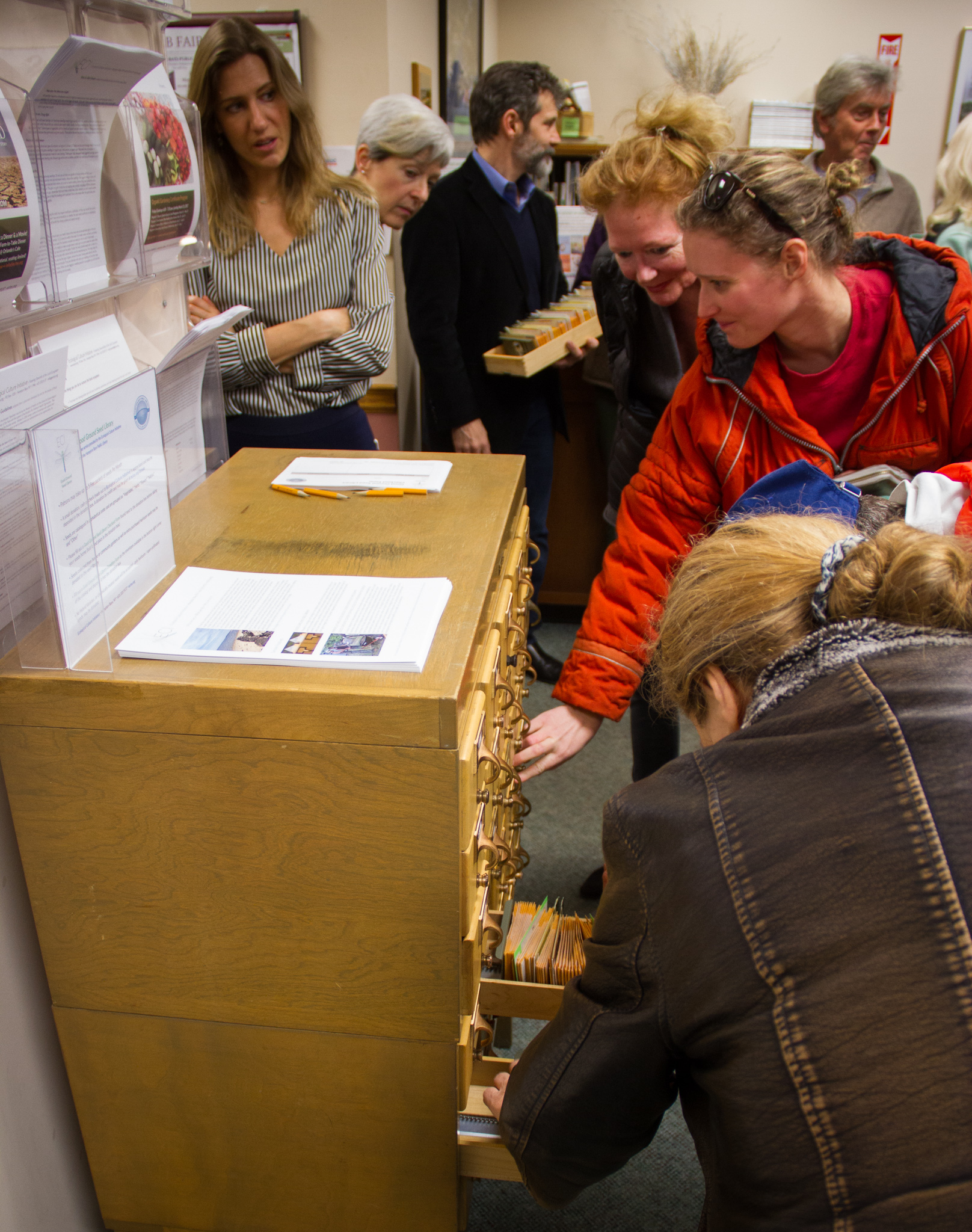 Enthusiastic patrons checking out the Good Ground Seed Library
