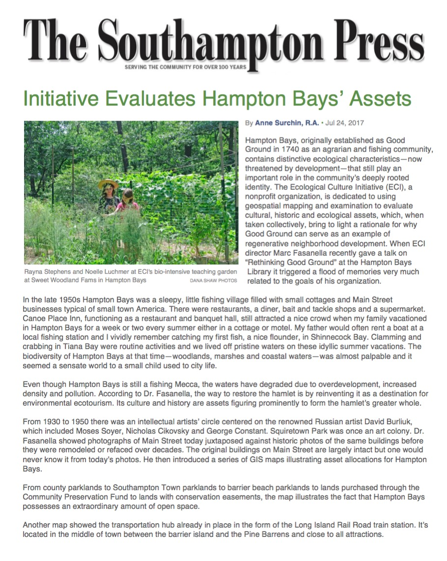 Southampton Press - Initiative Evaluates Hampton Bays' Assets - July 24, 2017.jpg