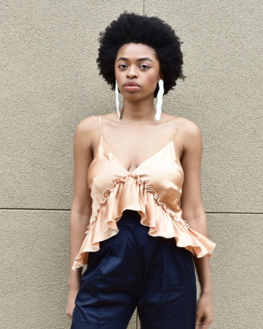 #details of the Lilith Convertible Slip Dress in its cami transformation // apricot eco-dyed silk charmeuse // available now at @insupportof . Photo c/o @insupportof  Model: @tanyaangelique