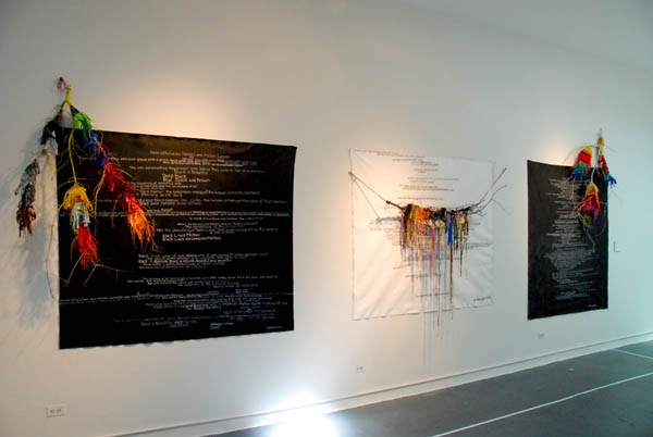 Hennie Made Life Come Alive , Woven Fabric on Branches and Canvas Installation