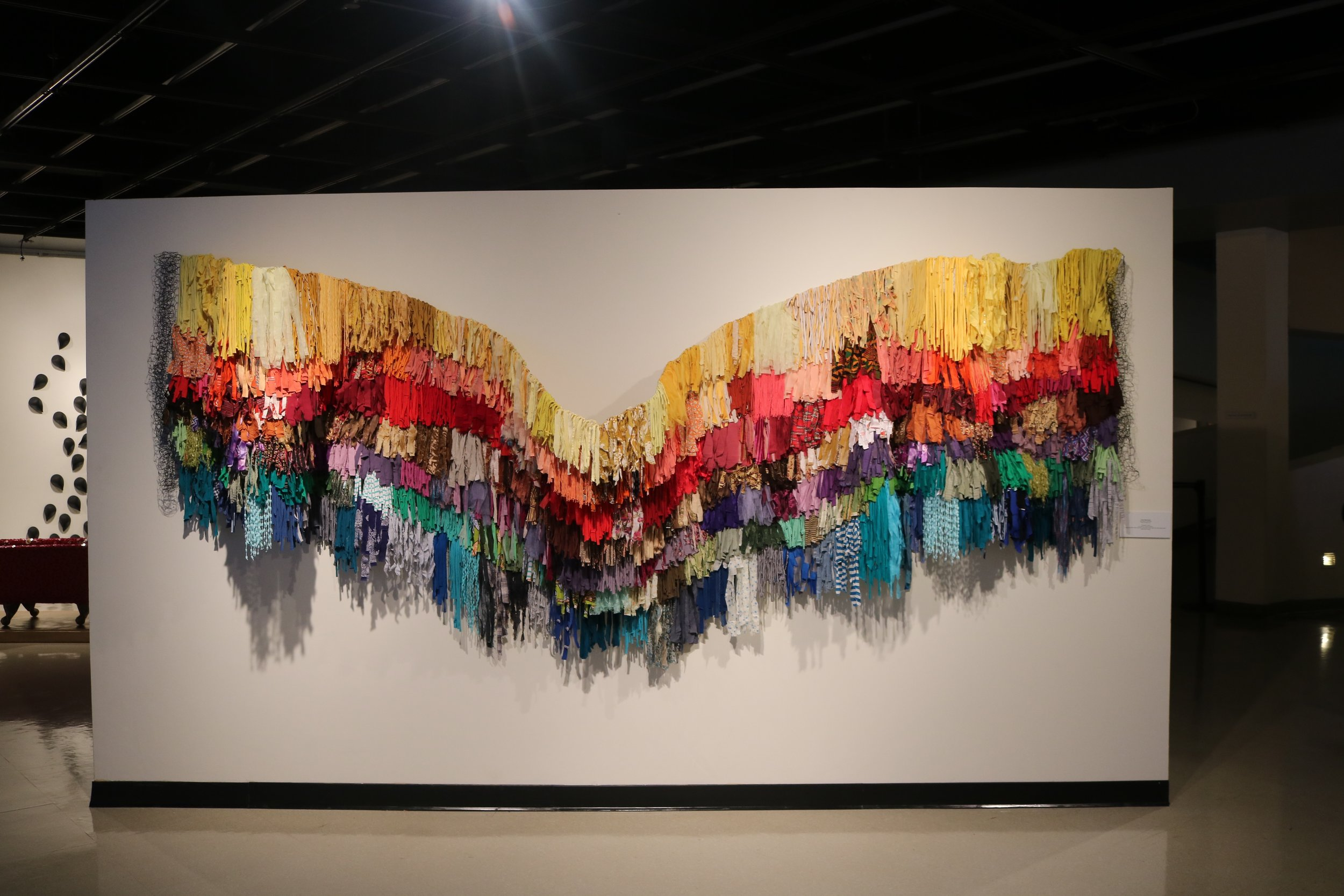 My Rainbow Is Enuf, Commissioned Installation, Mixed Media on Chicken Wire, 48 in. x 288 in.   Prices available upon request.
