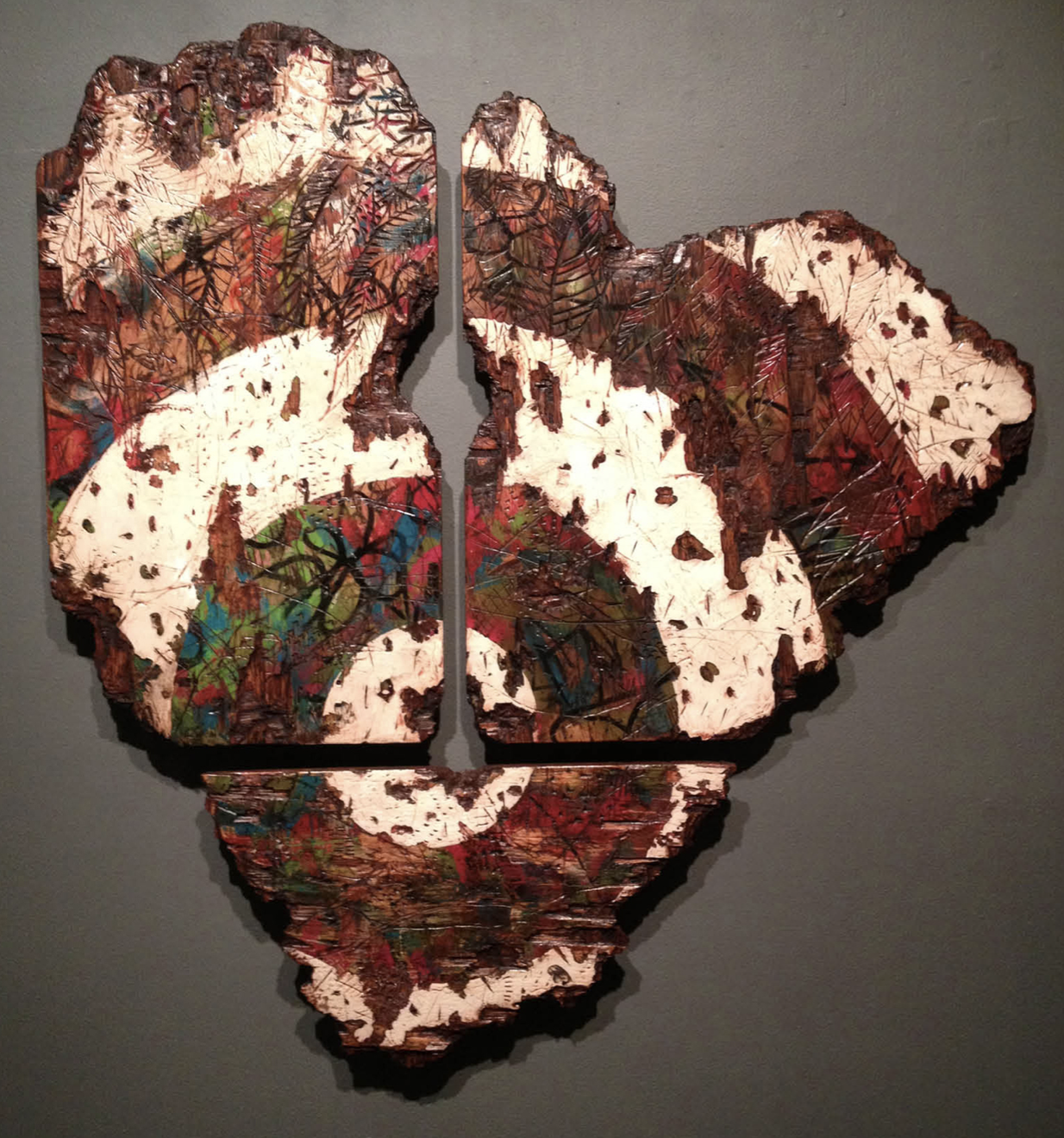 "Mis-Taken Identity, 43"" x 44"", oil paint, latex paint, spray paint, shellac, plywood, 2013  By Wesley Clark"