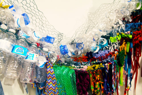 Serpentine, Detail,  Commissioned Installation,  Mixed Media on Chicken Wire, 100 in. x 120