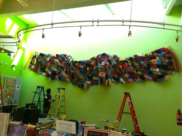 Beyond the Visual Rainbow,  Commissioned Public Artwork, Detail, Mixed Media on Chicken Wire, 48 in. x 600 in, Deanwood Public Library, DC