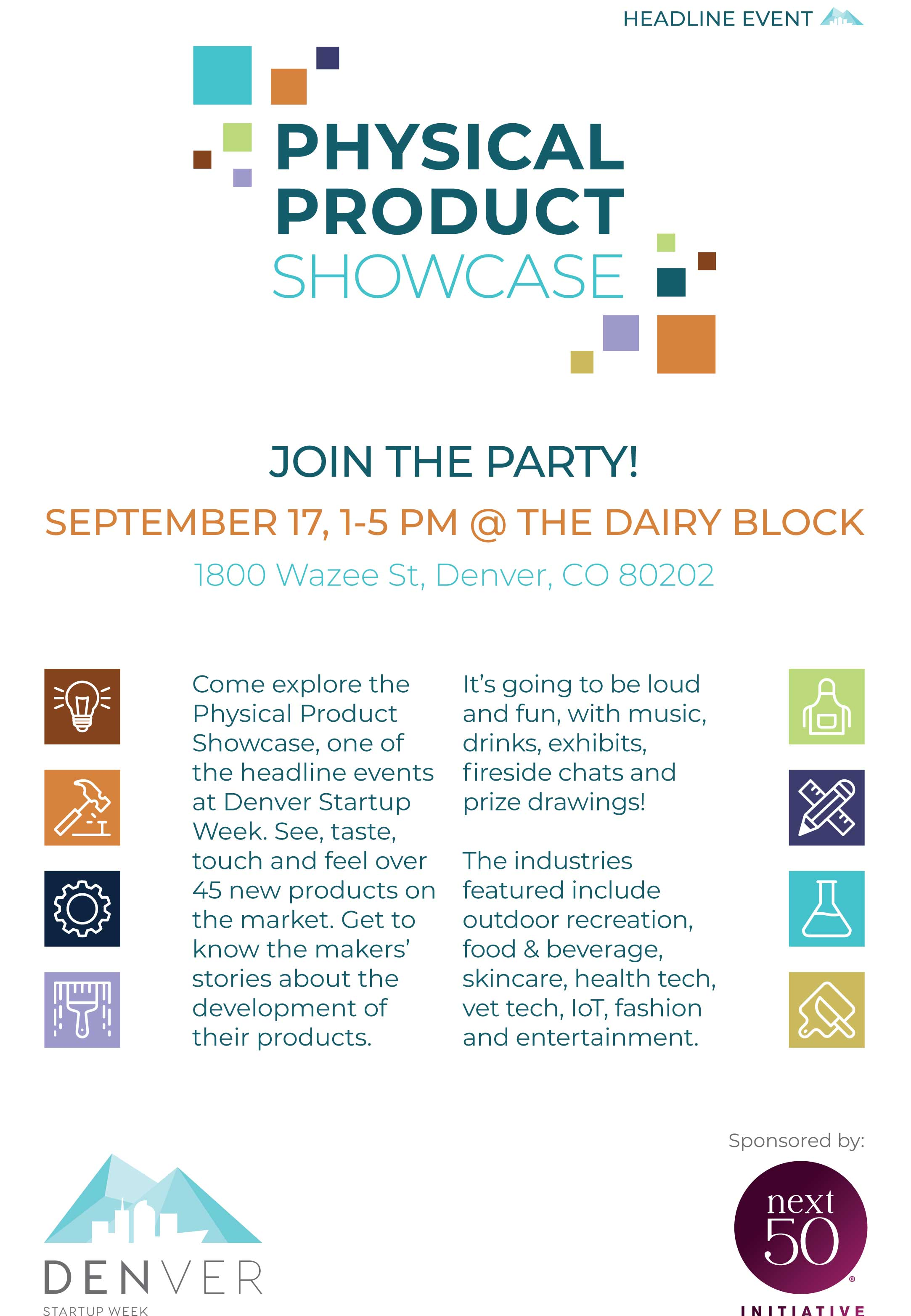 Flyer for the Physical Product Showcase during Denver Startup Week.